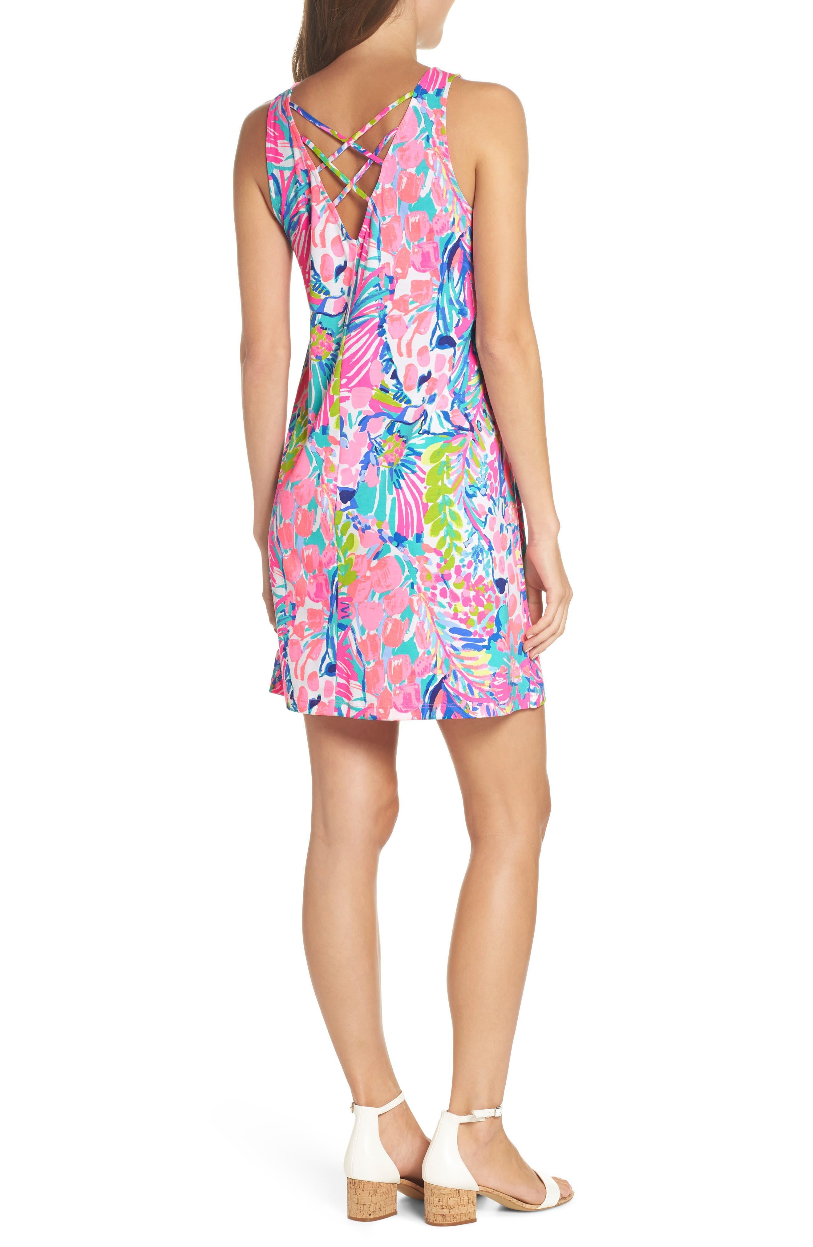 Kristen Trapeze Dress,                             Alternate thumbnail 2, color,                             Multi Gumbo Limbo