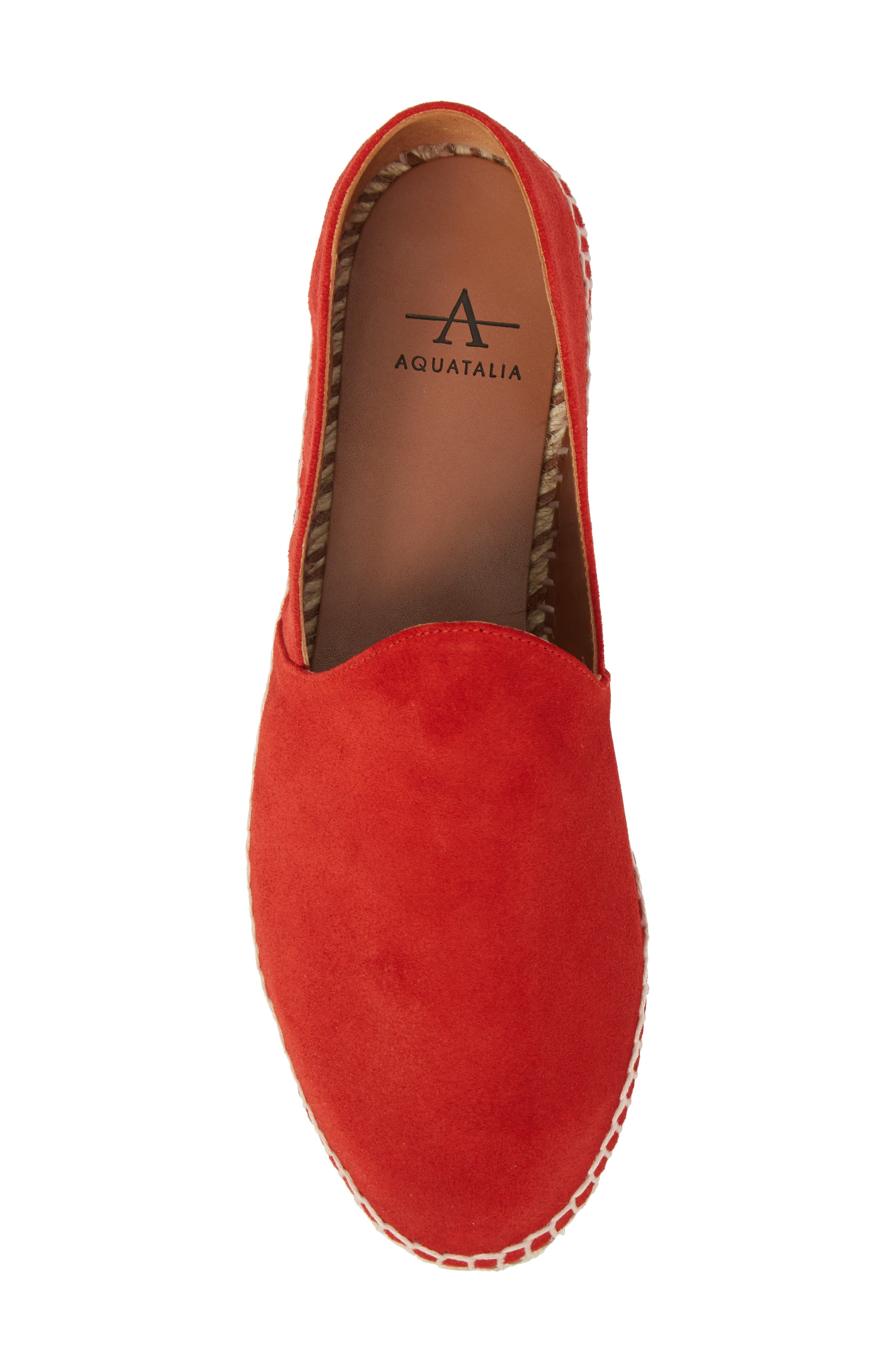 Haddie Espadrille Loafer,                             Alternate thumbnail 5, color,                             Red Suede