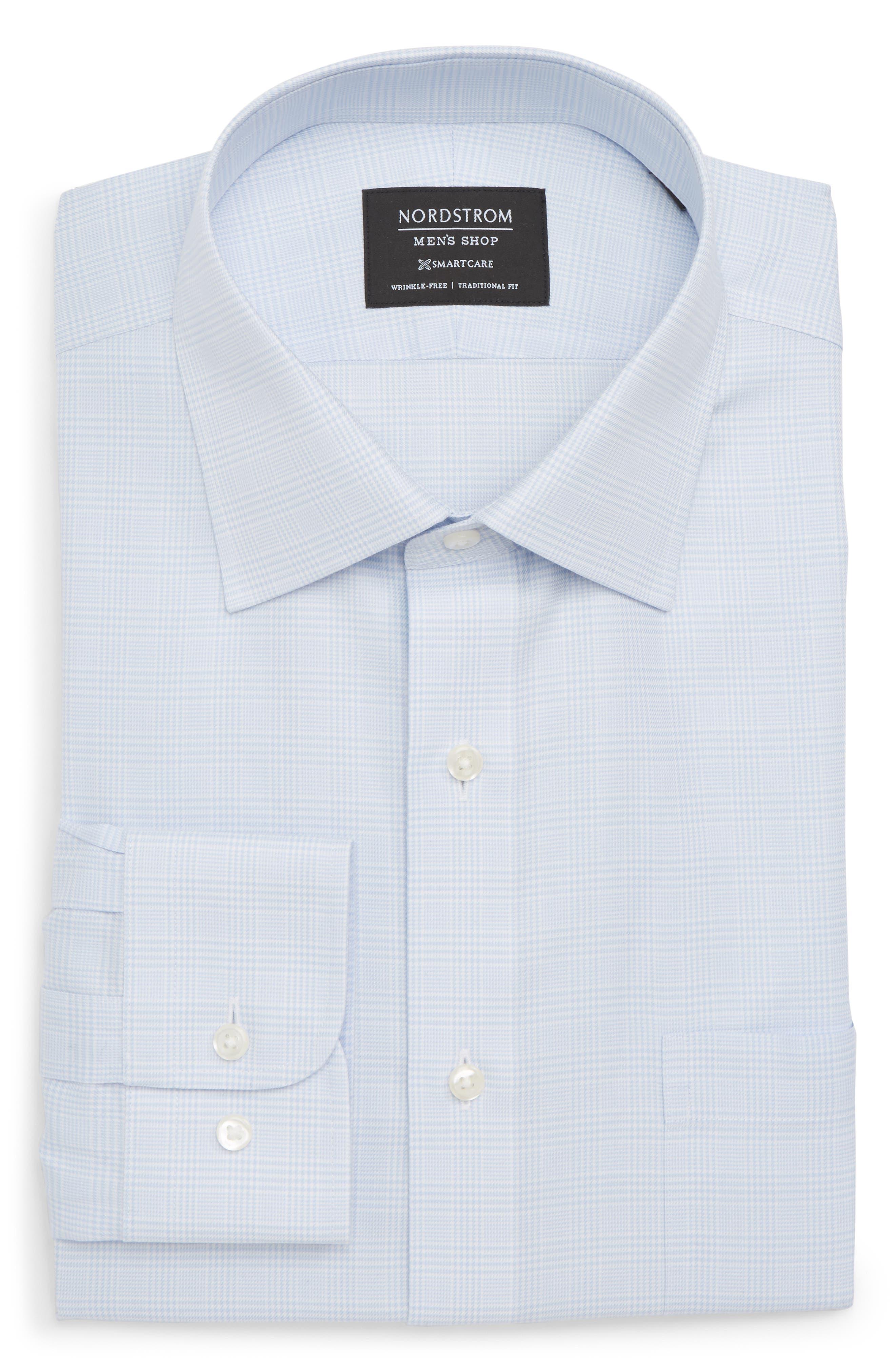 Smartcare<sup>™</sup> Traditional Fit Herringbone Dress Shirt,                         Main,                         color, Blue Vista