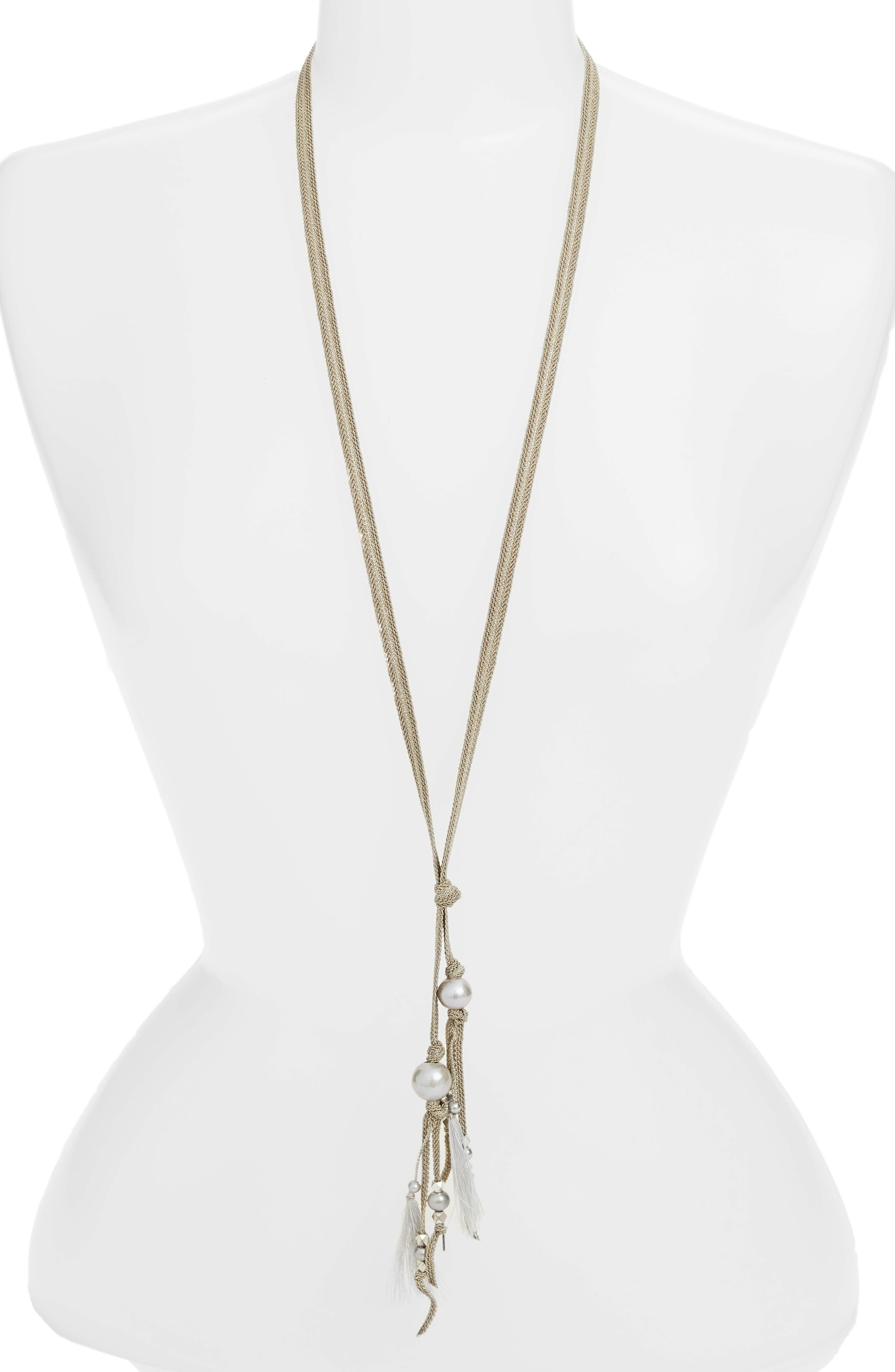 Chan Luu Pearl Ribbon Necklace