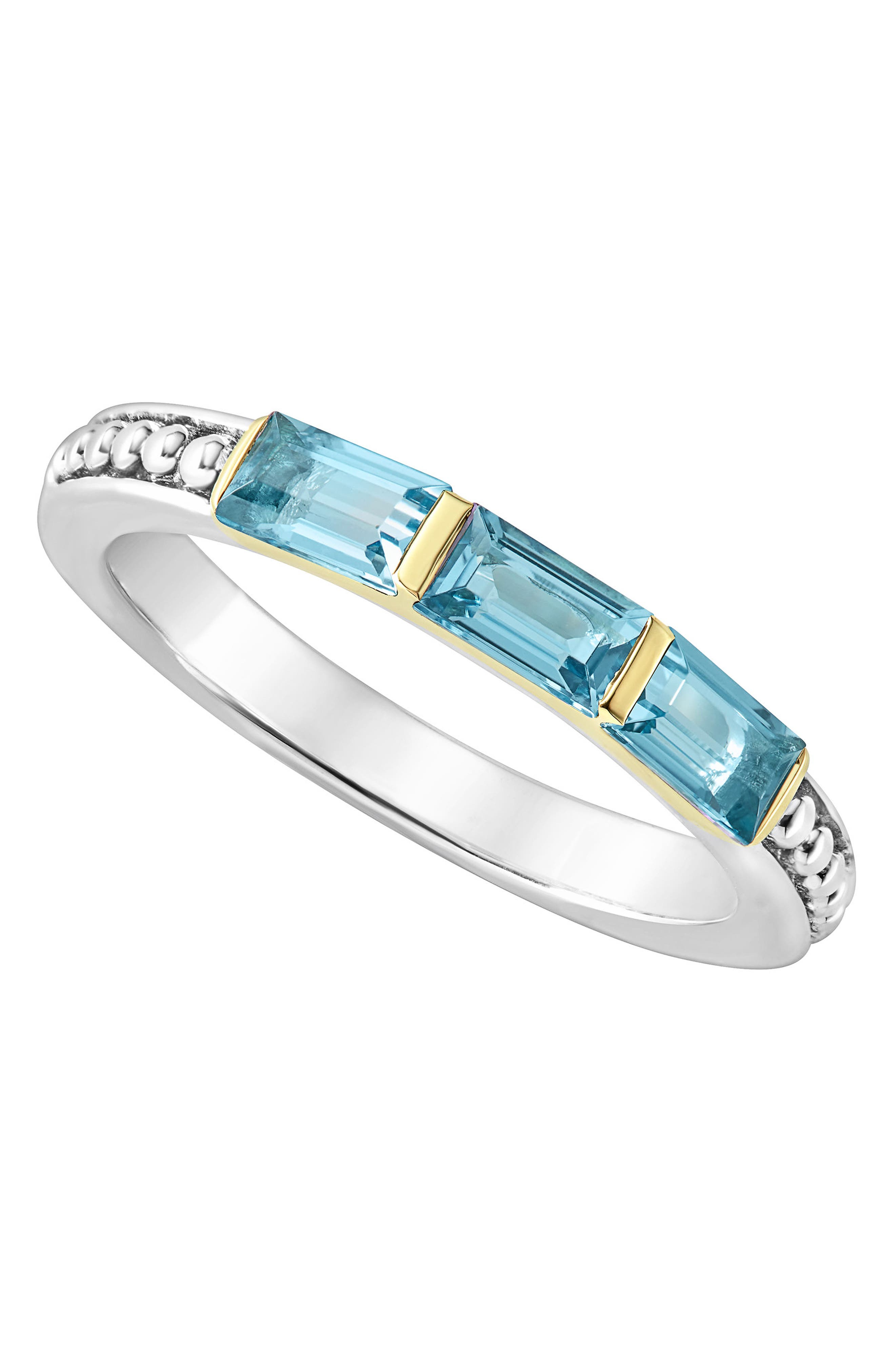 Gemstone Baguette Stackable Ring,                             Alternate thumbnail 4, color,                             Silver/ 18K Gold/ Blue Topaz