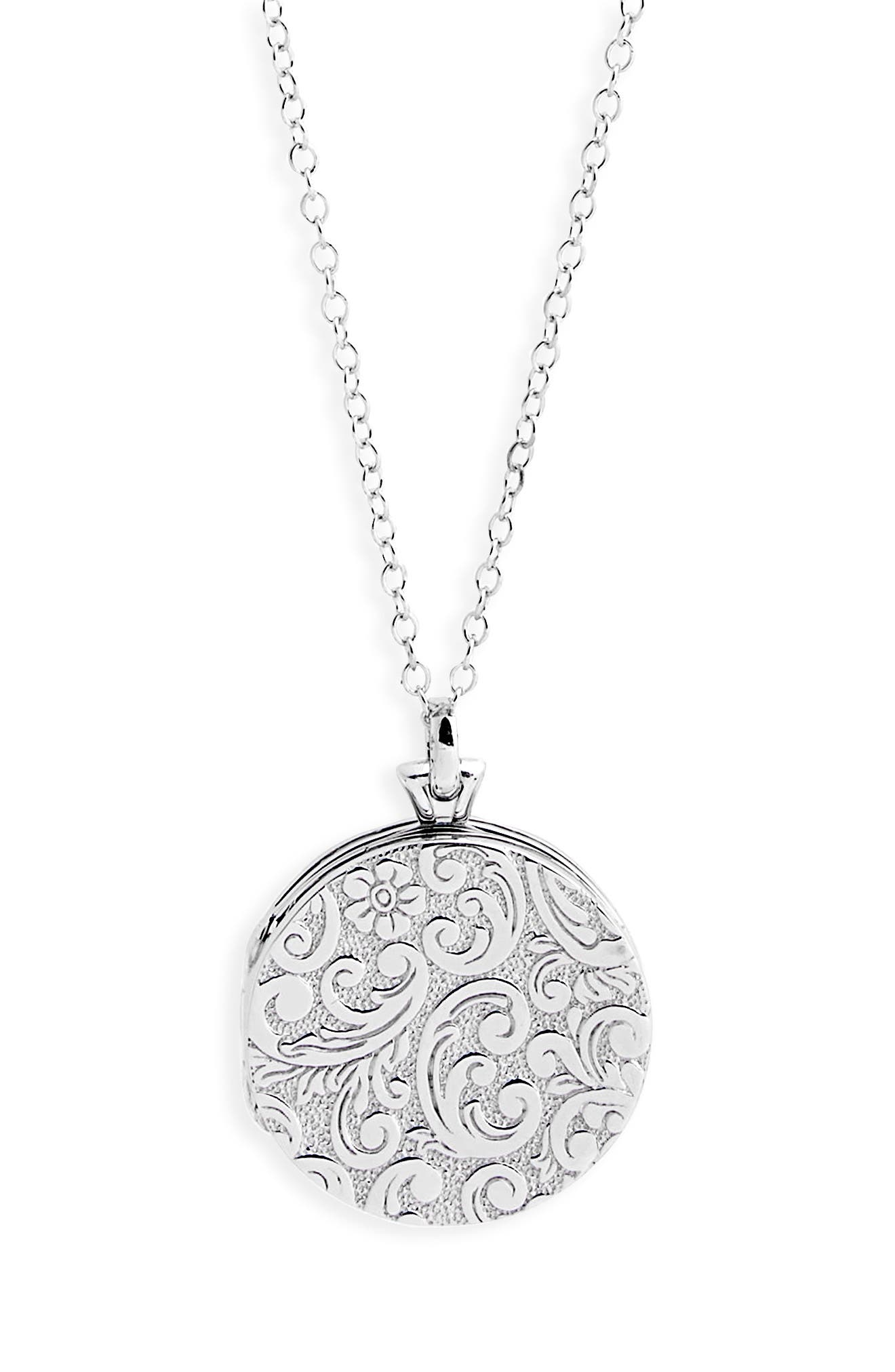 Round Floral Locket Necklace,                             Alternate thumbnail 2, color,                             Sterling Silver