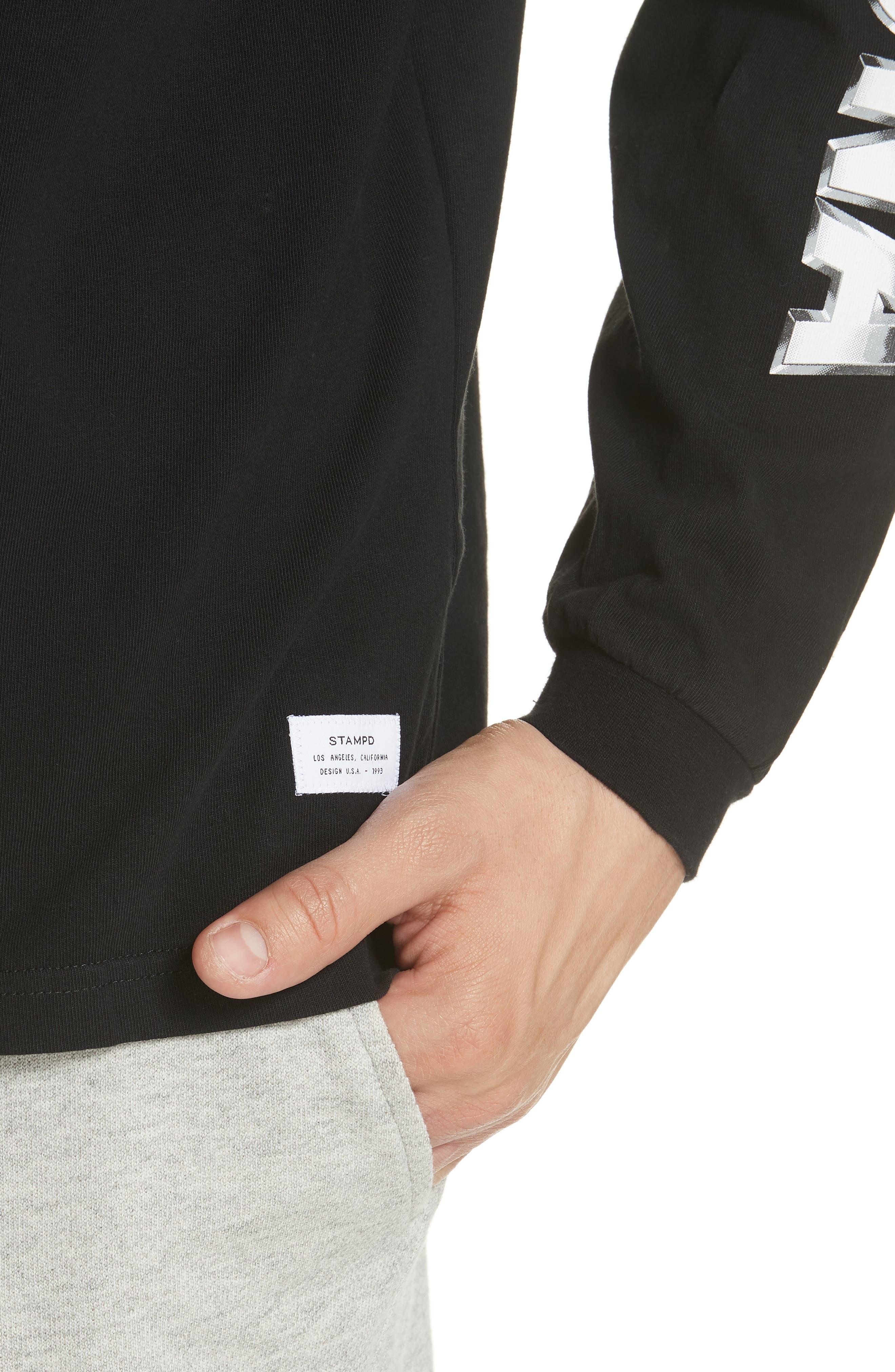 Metal Graphic Long Sleeve T-Shirt,                             Alternate thumbnail 4, color,                             Black