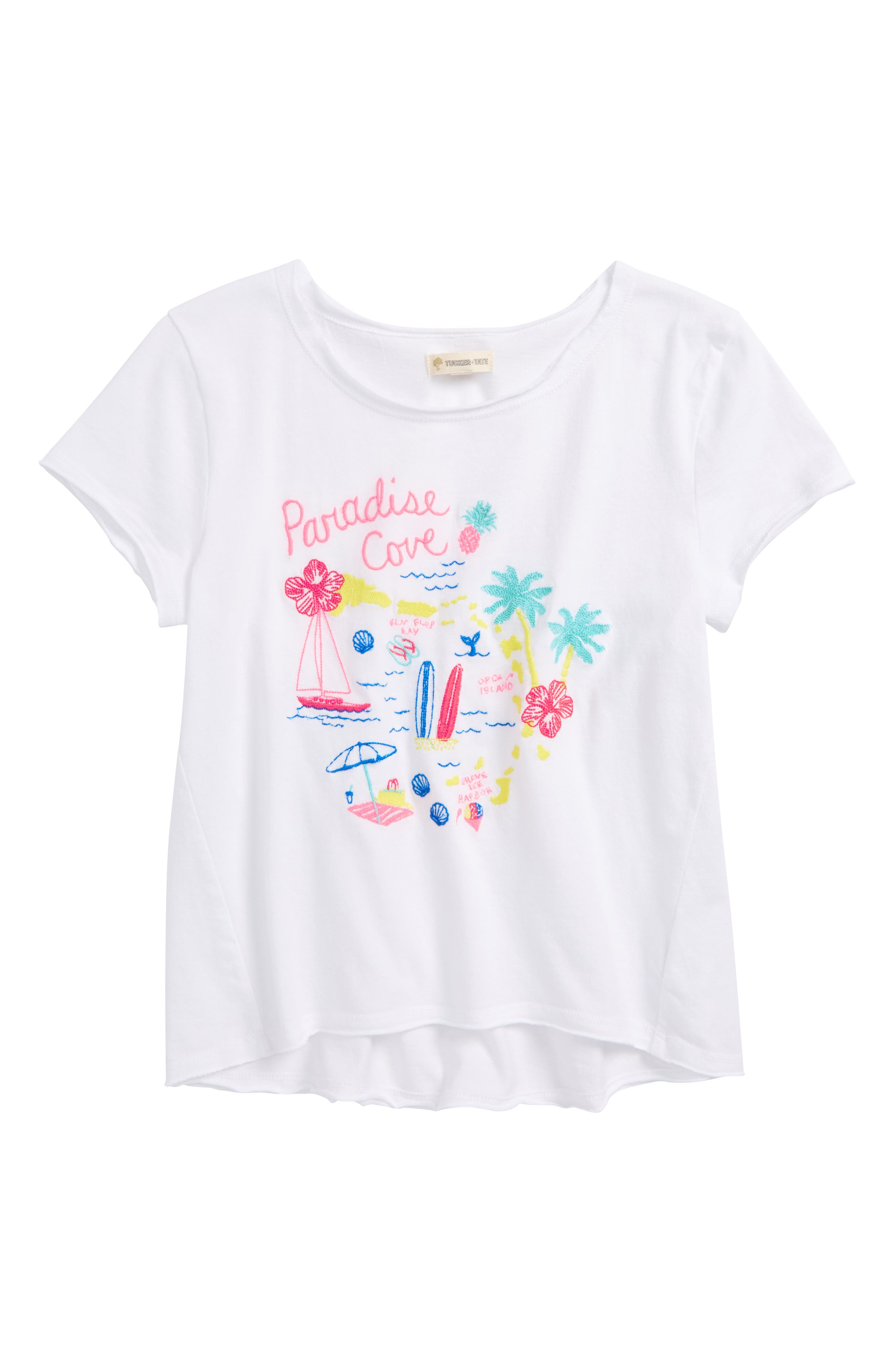 Tucker+Tate Embroidered Tee,                             Main thumbnail 1, color,                             White Destination