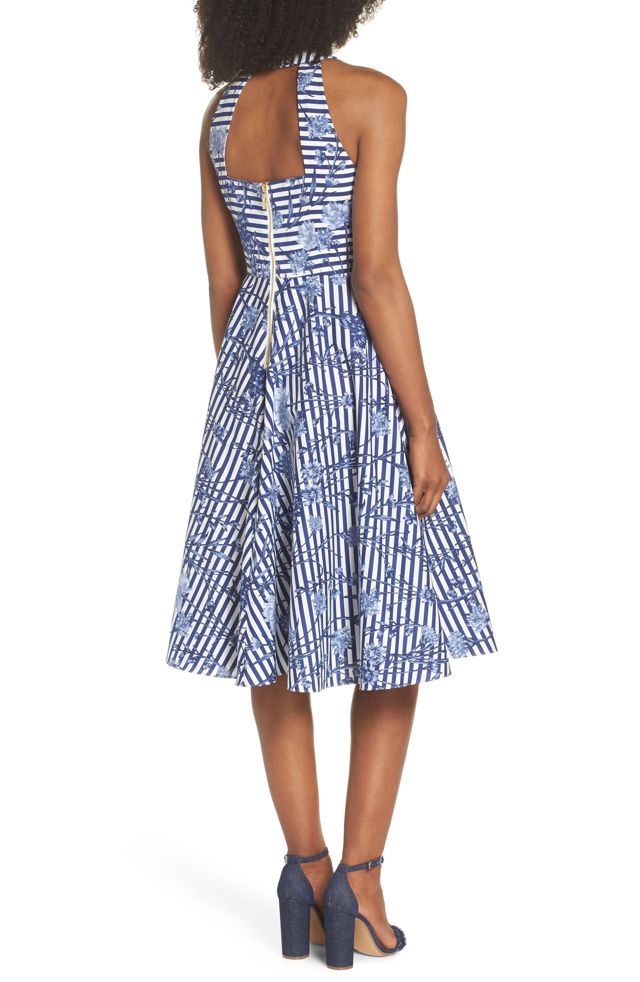 Floral Stripe Halter Fit & Flare Poplin Dress,                             Alternate thumbnail 2, color,                             Blue/ White