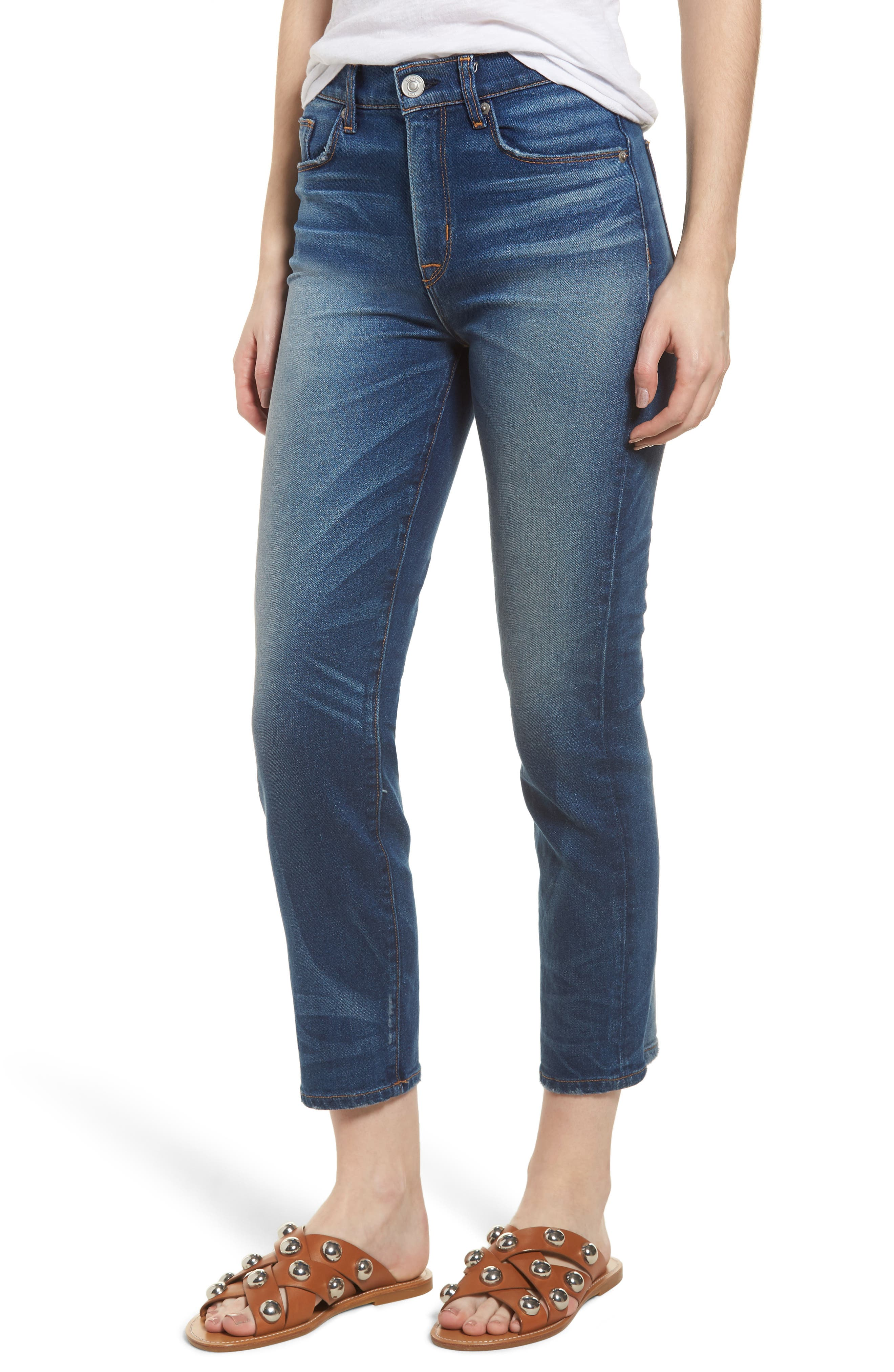 Zoeey High Waist Crop Straight Leg Jeans,                             Main thumbnail 1, color,                             Undenied
