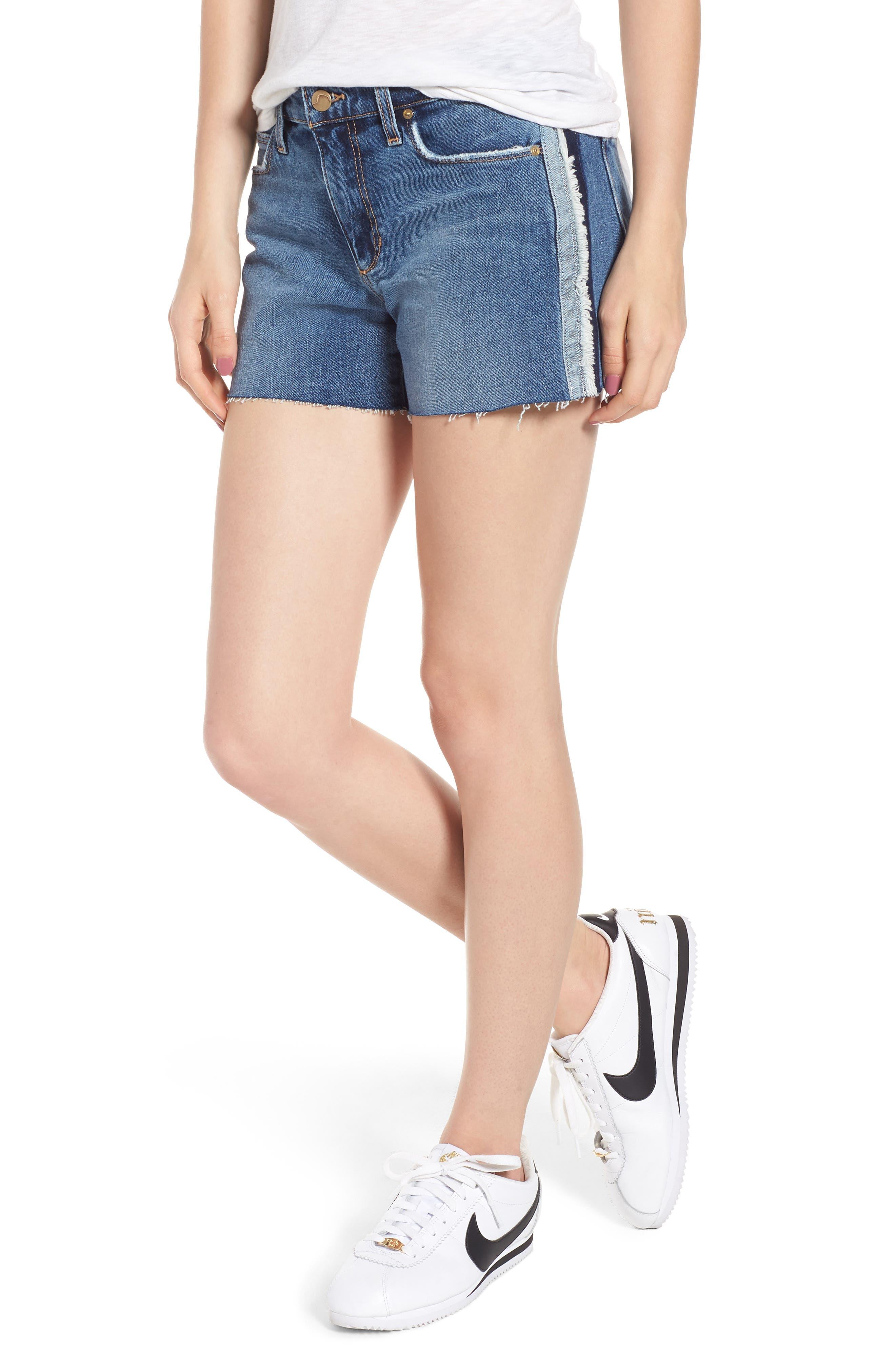 Ozzie Side Stripe Cutoff Shorts,                             Main thumbnail 1, color,                             Madera
