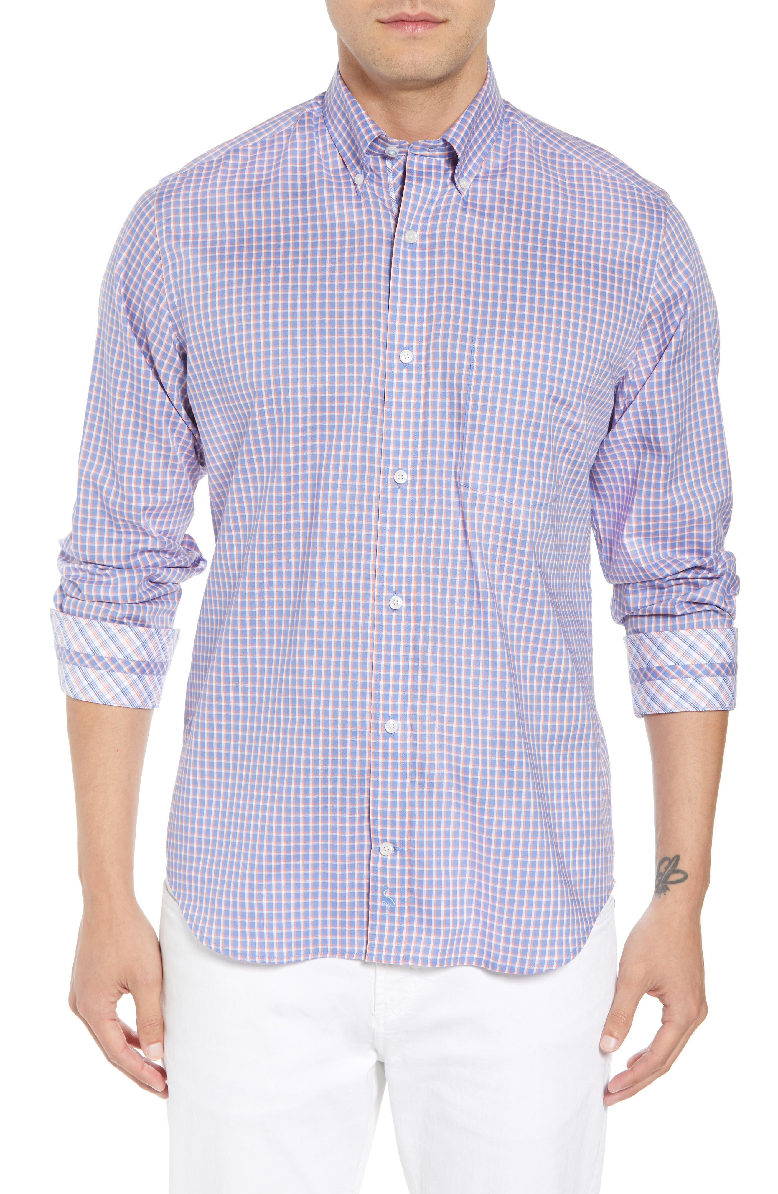 Bader Regular Fit Check Sport Shirt,                         Main,                         color, Navy