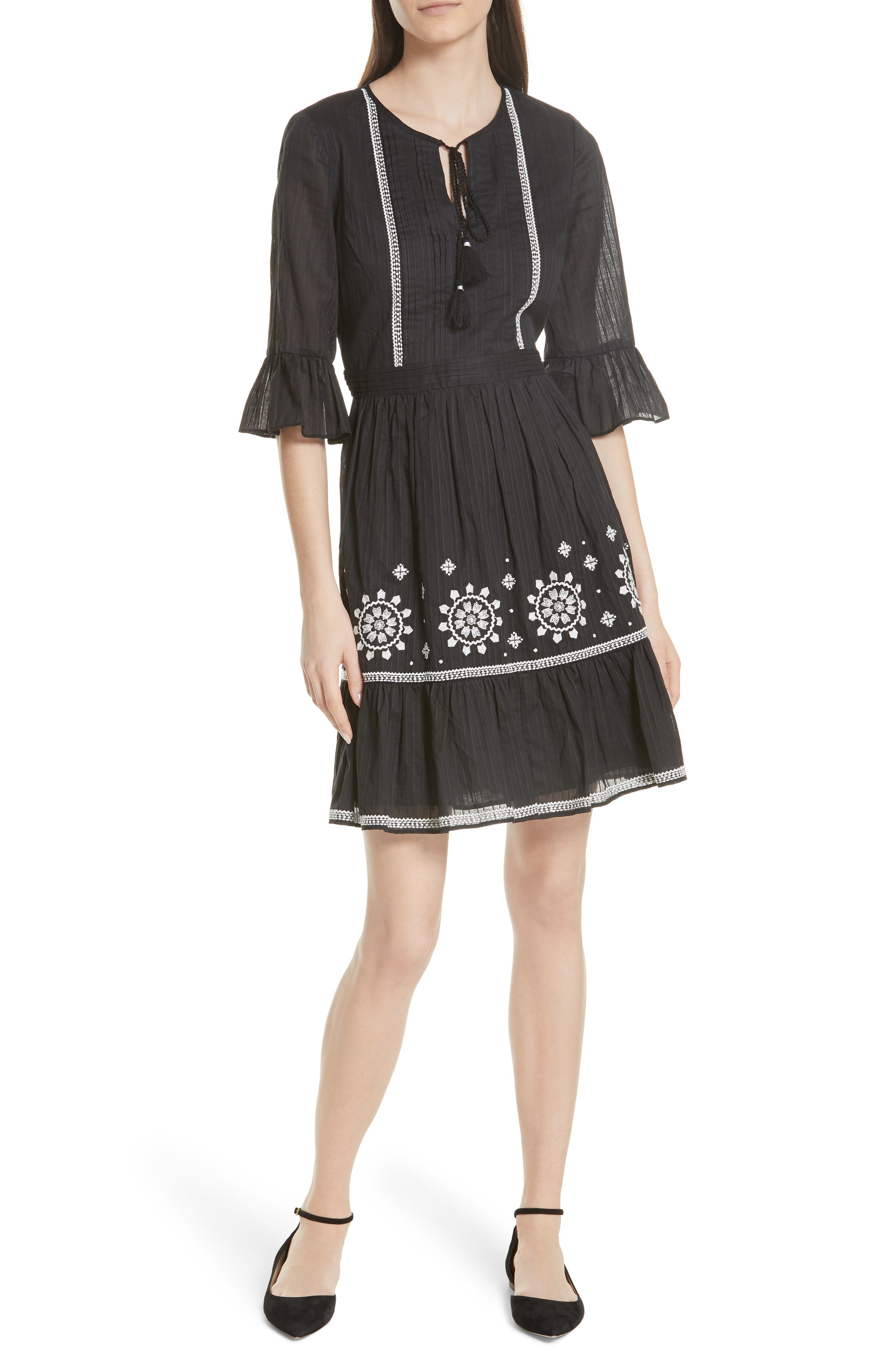 mosaic embroidered dress,                         Main,                         color, Black