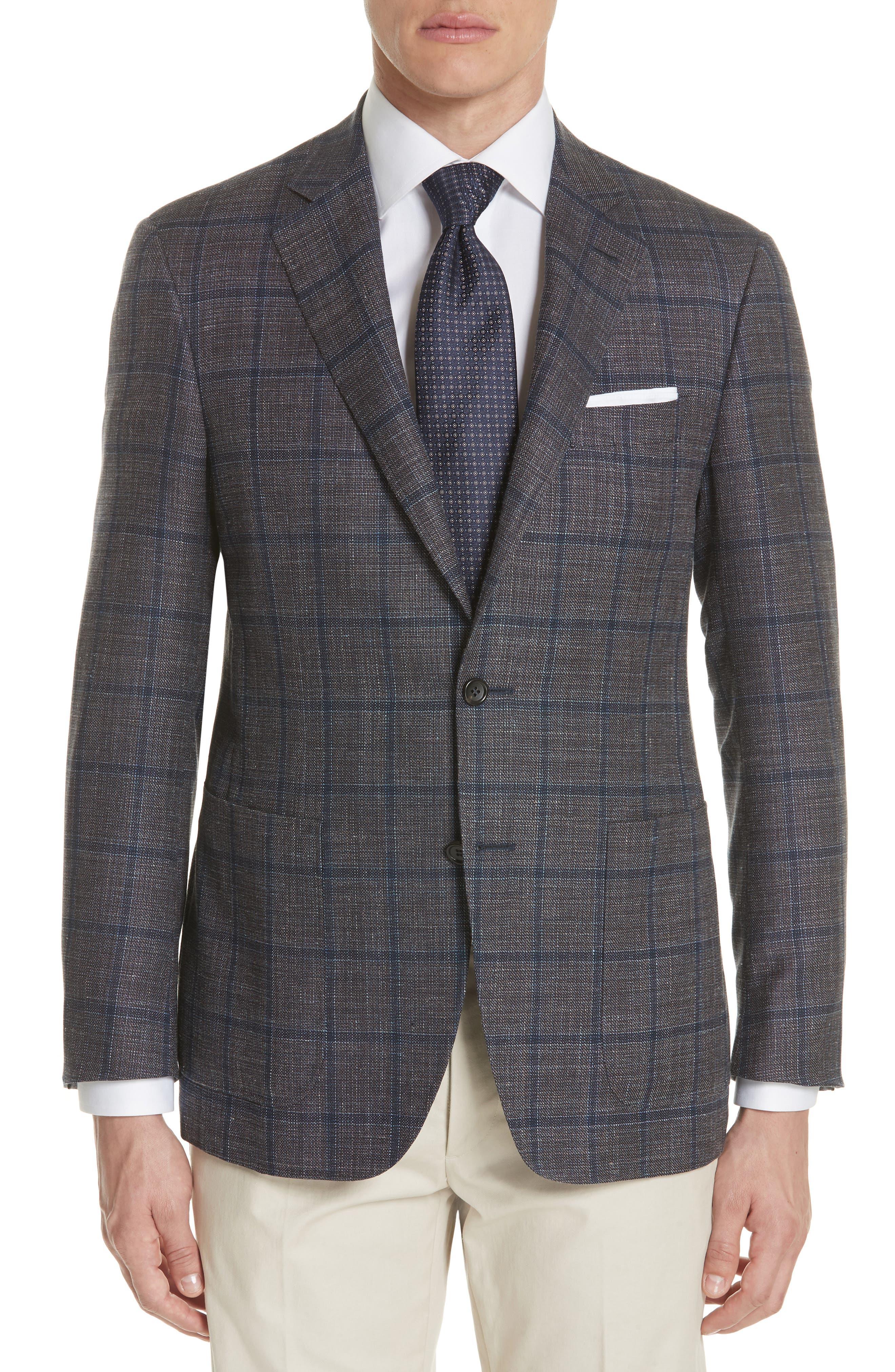Kei Classic Fit Windowpane Wool Blend Sport Coat,                             Main thumbnail 1, color,                             Brown