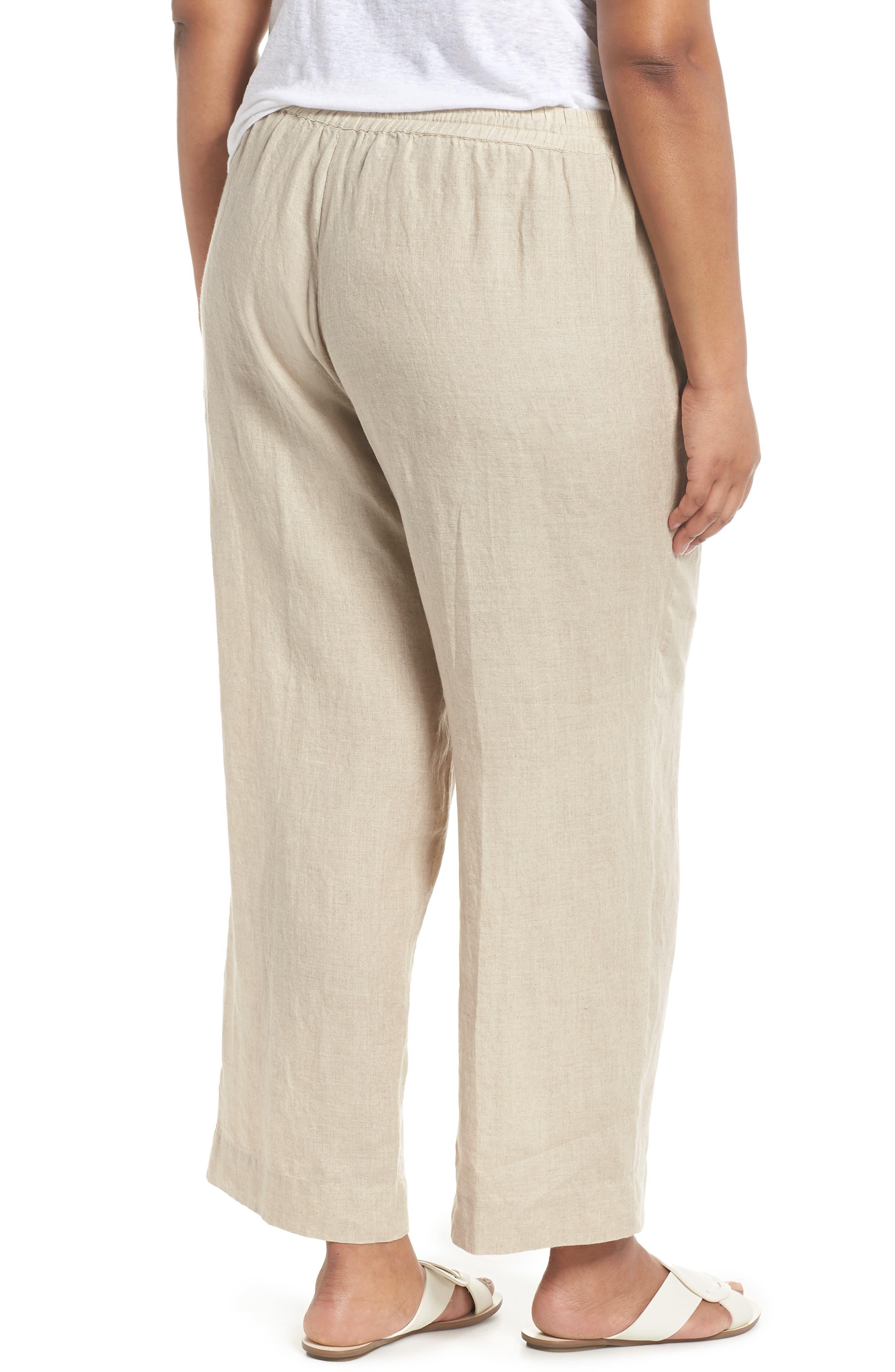 Organic Linen Ankle Pants,                             Alternate thumbnail 2, color,                             Undyed Natural