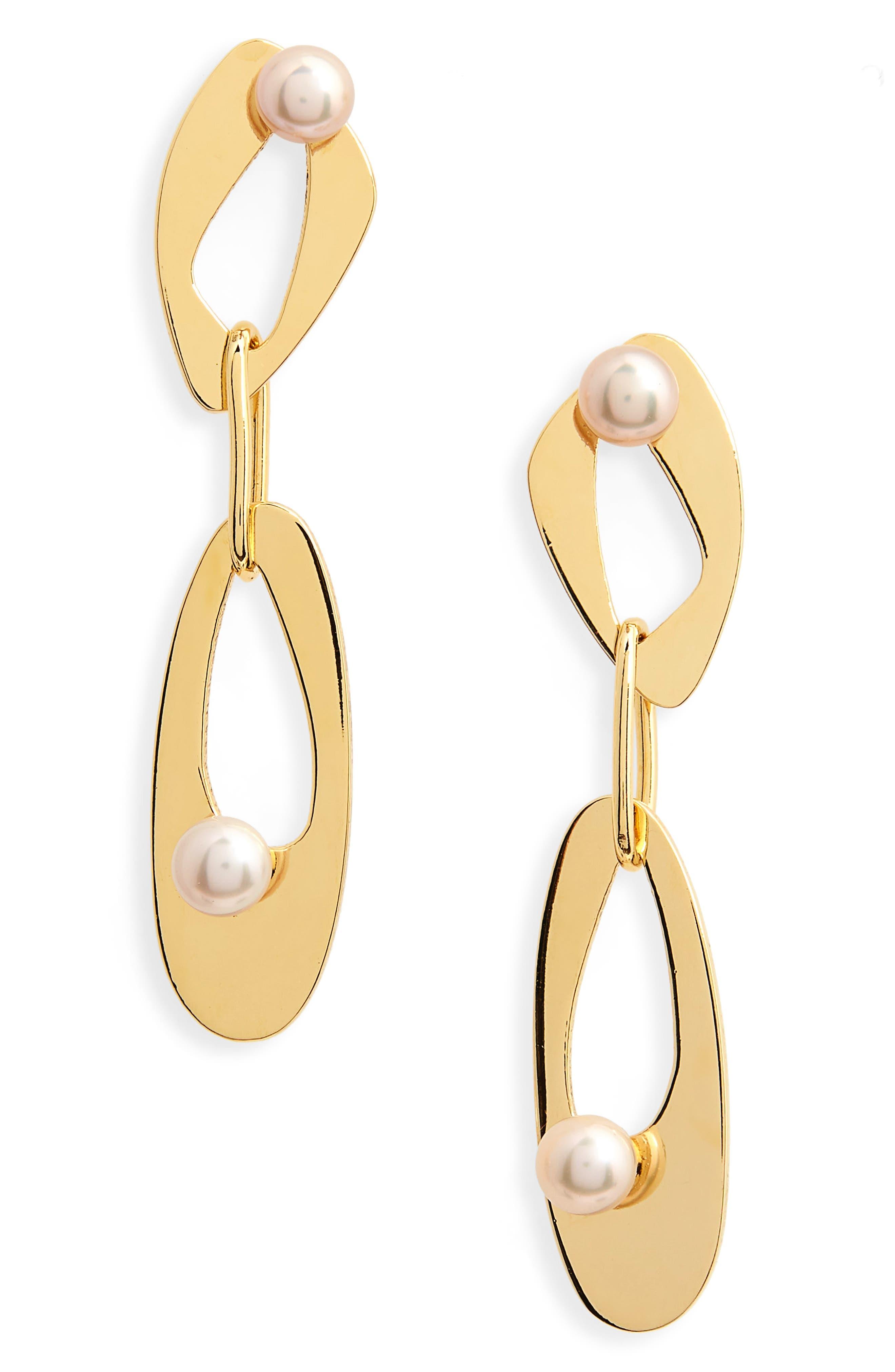 Infinity Freshwater Pearl Drop Earrings,                         Main,                         color, Multi
