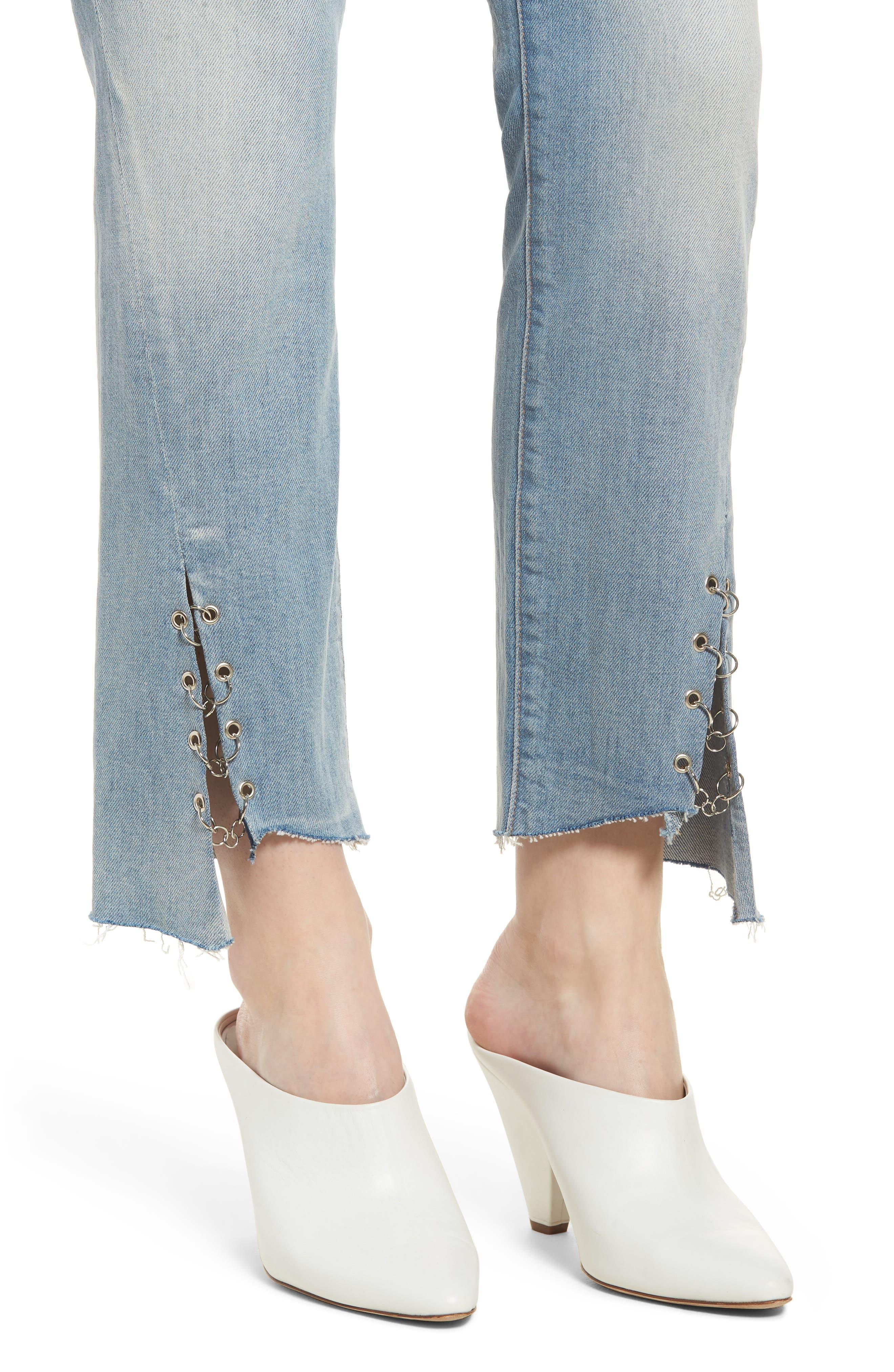 Edie Grommet & Rings Seam Crop Jeans,                             Alternate thumbnail 4, color,                             Light Riviera