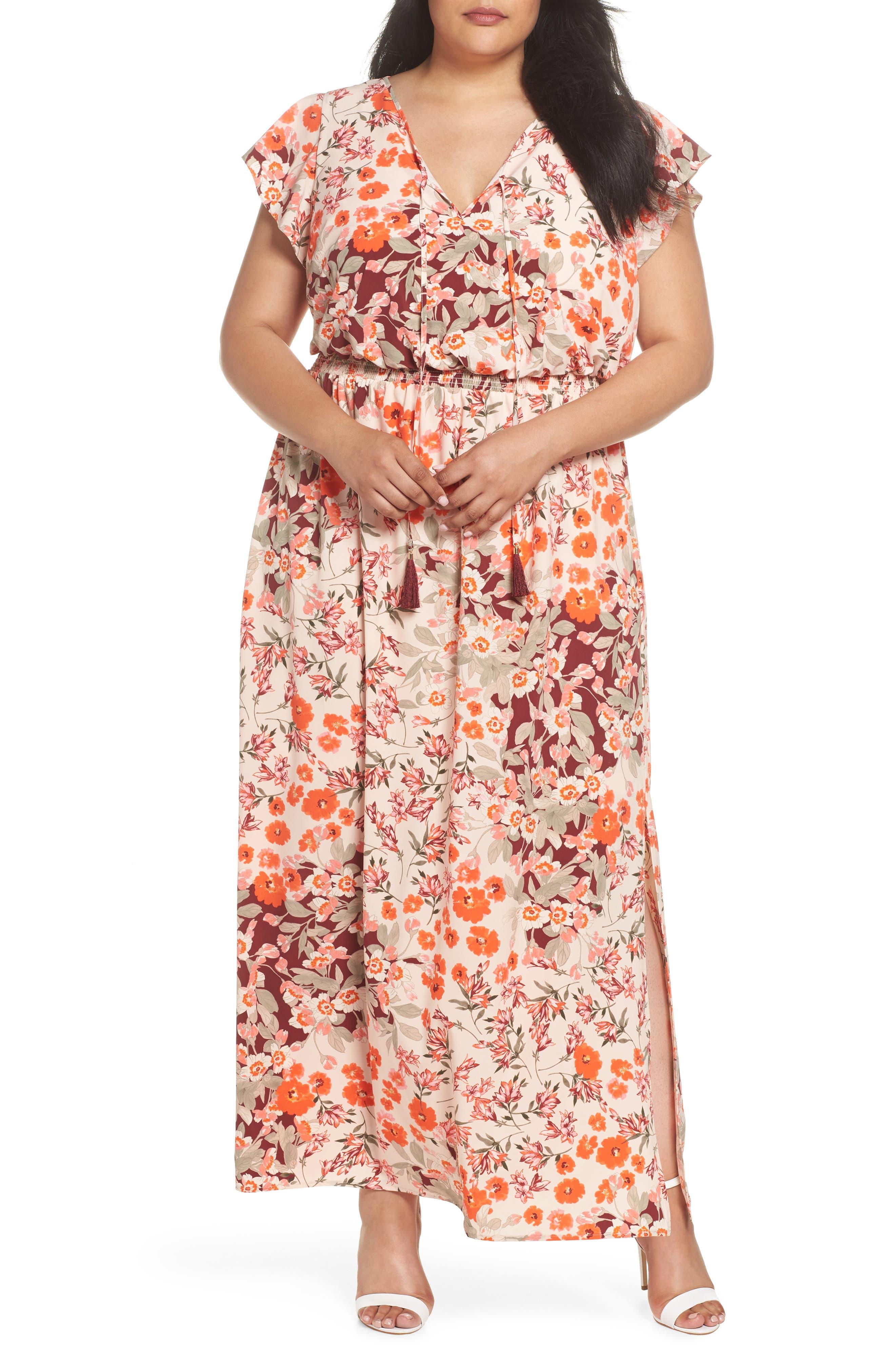 Floral Ruffle Sleeve Maxi Dress,                         Main,                         color, Geranium Multi