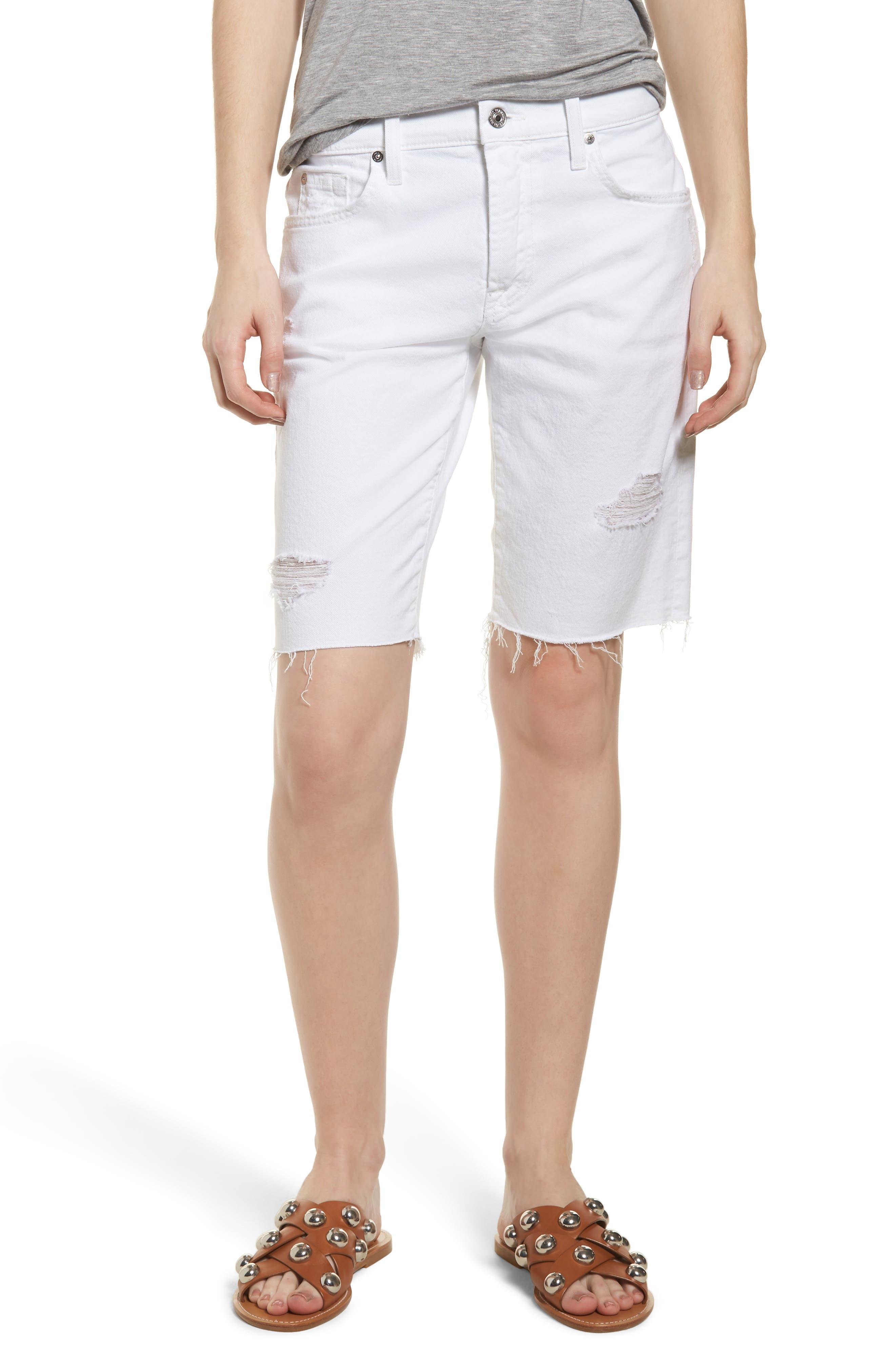 7 For All Mankind® Distressed High Waist Straight Leg Bermuda Shorts (White Fashion 4)