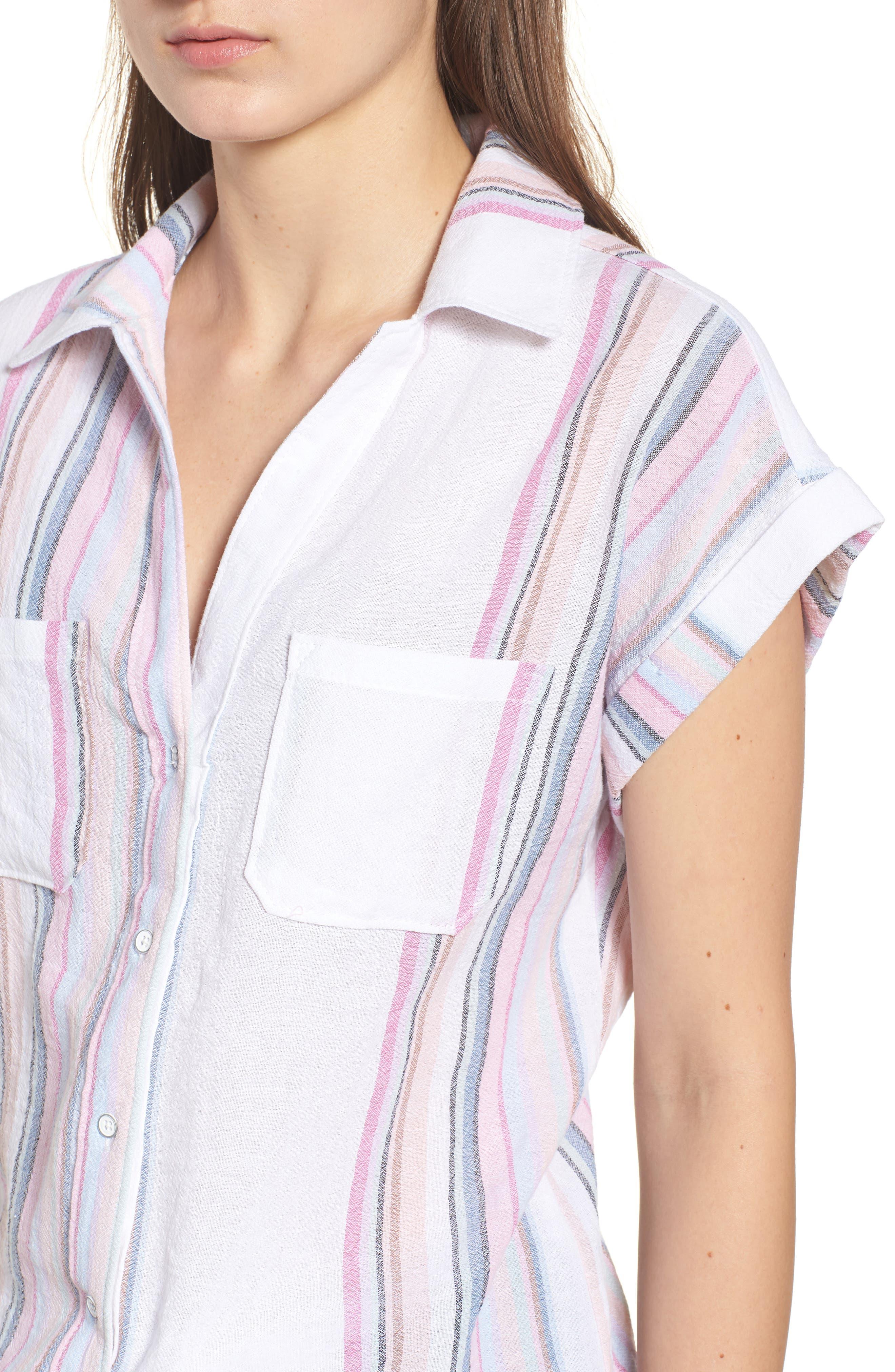 Stripe Camp Shirt,                             Alternate thumbnail 4, color,                             Josephina Rainbow Stripe