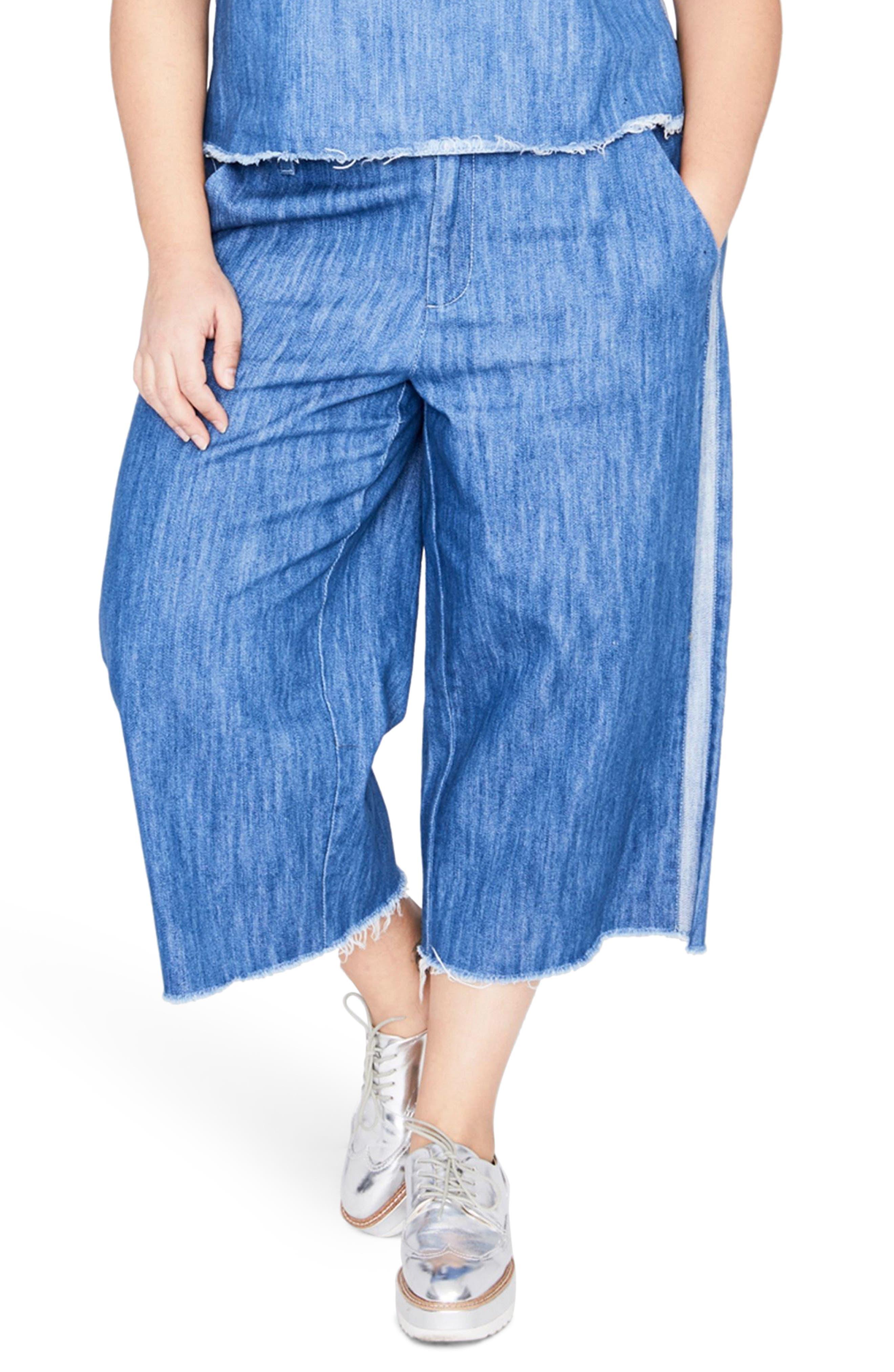 Stripe Wide Leg Crop Chambray Pants,                             Main thumbnail 1, color,                             Medium Wash