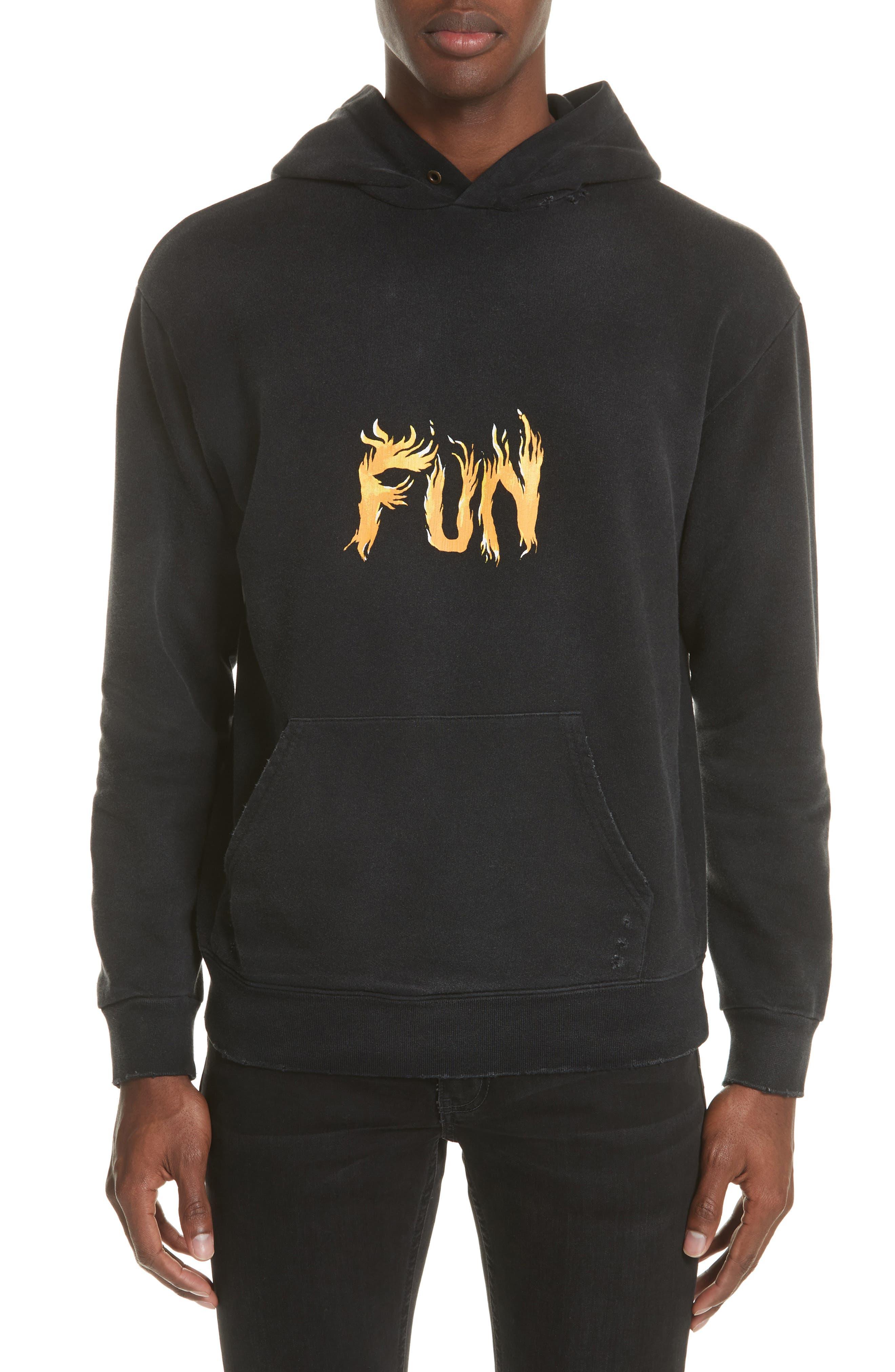 Fun Print Graphic Hoodie,                         Main,                         color, Black