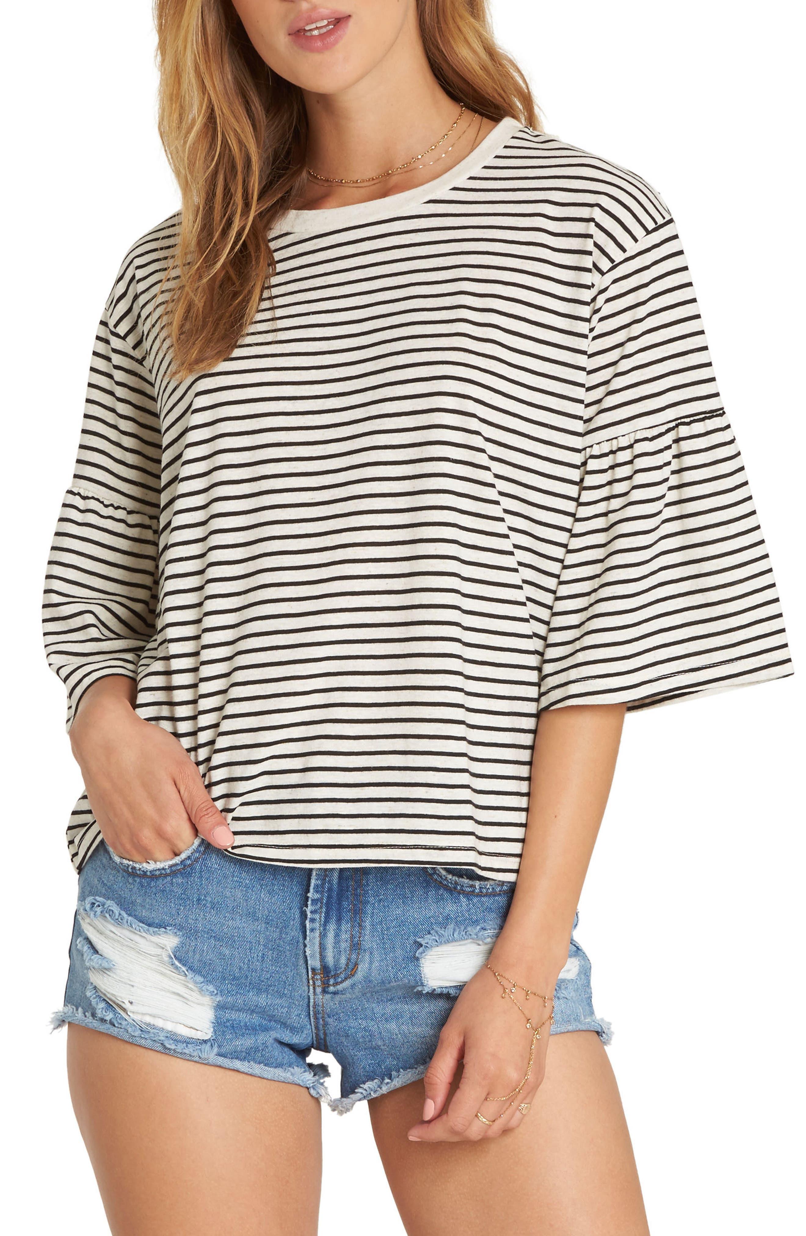 Today's Crush Stripe Ruffle Sleeve Tee,                         Main,                         color, Oatmeal