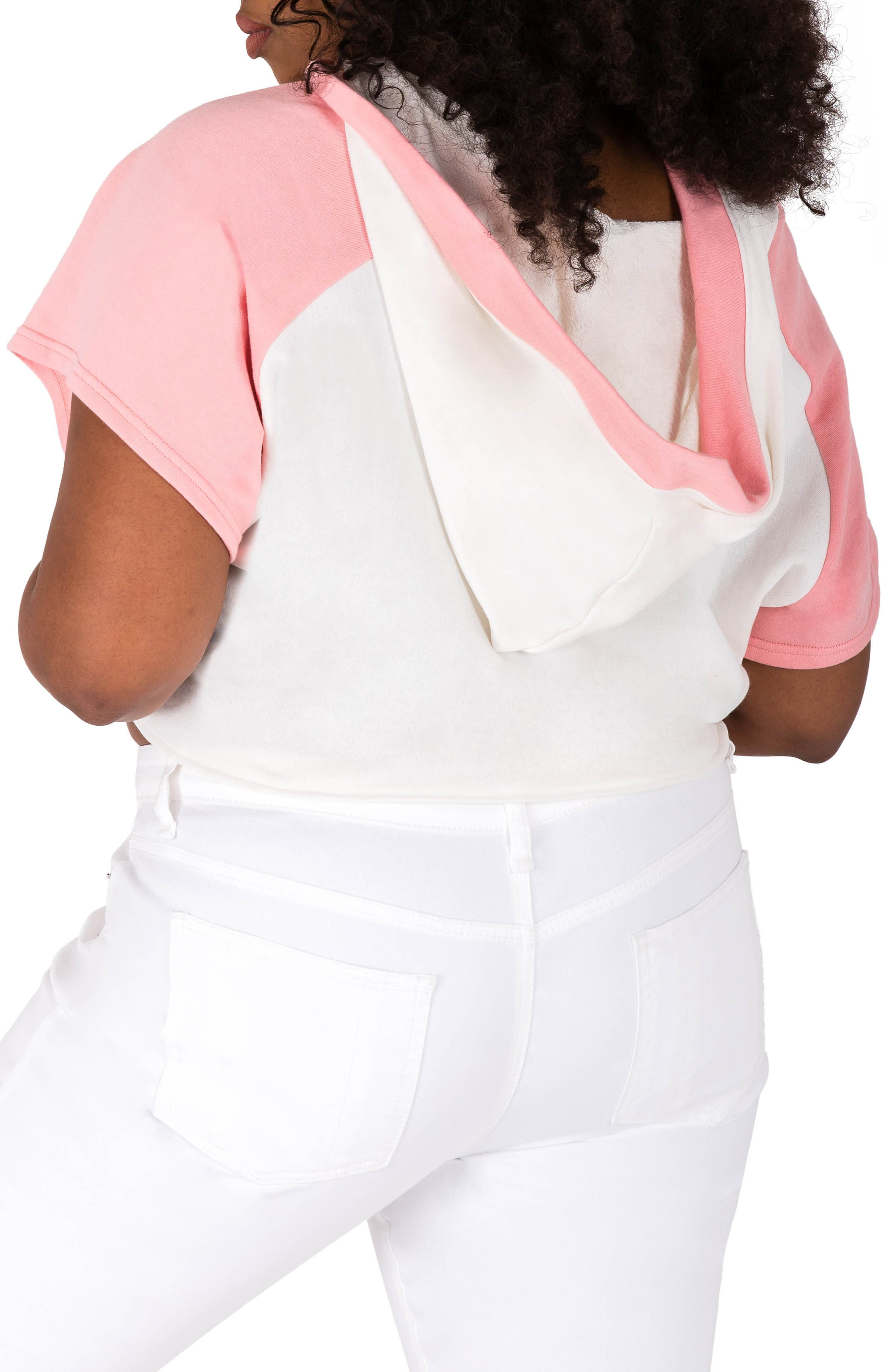 Ashira Hoodie Top,                             Alternate thumbnail 2, color,                             White And Pink