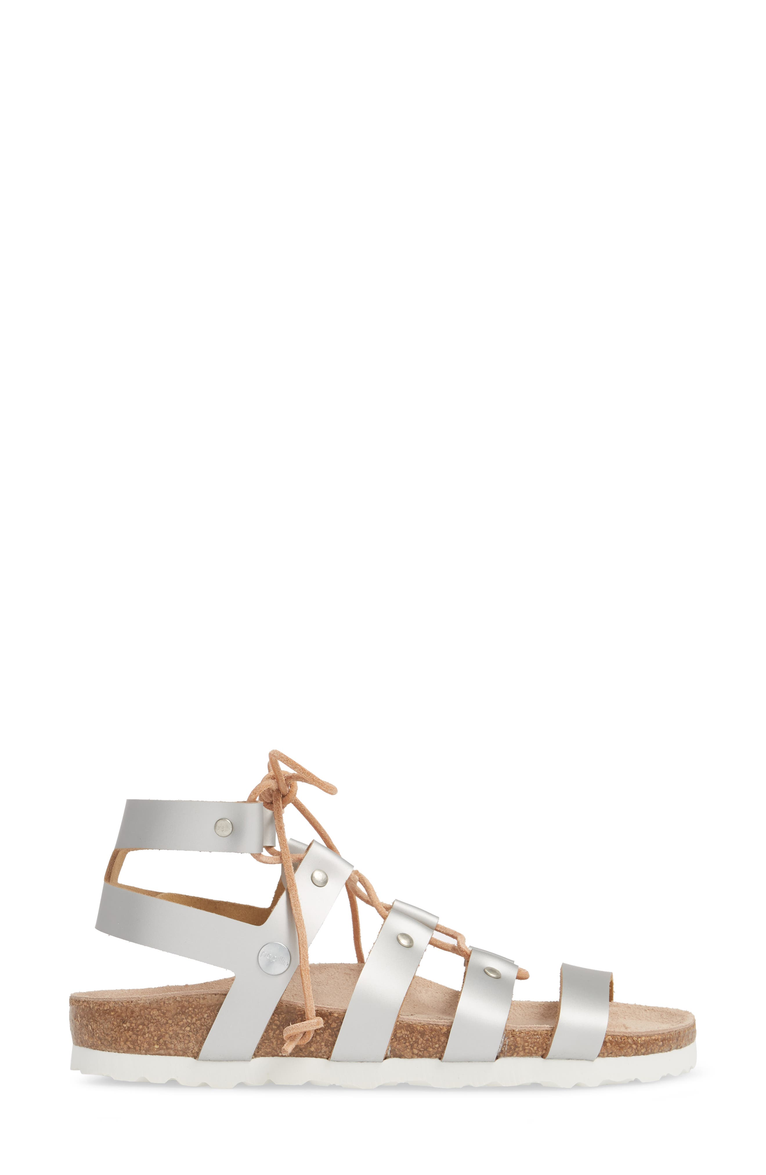 Papillio by Birkenstock Cleo Gladiator Sandal,                             Alternate thumbnail 3, color,                             Frosted Silver Leather