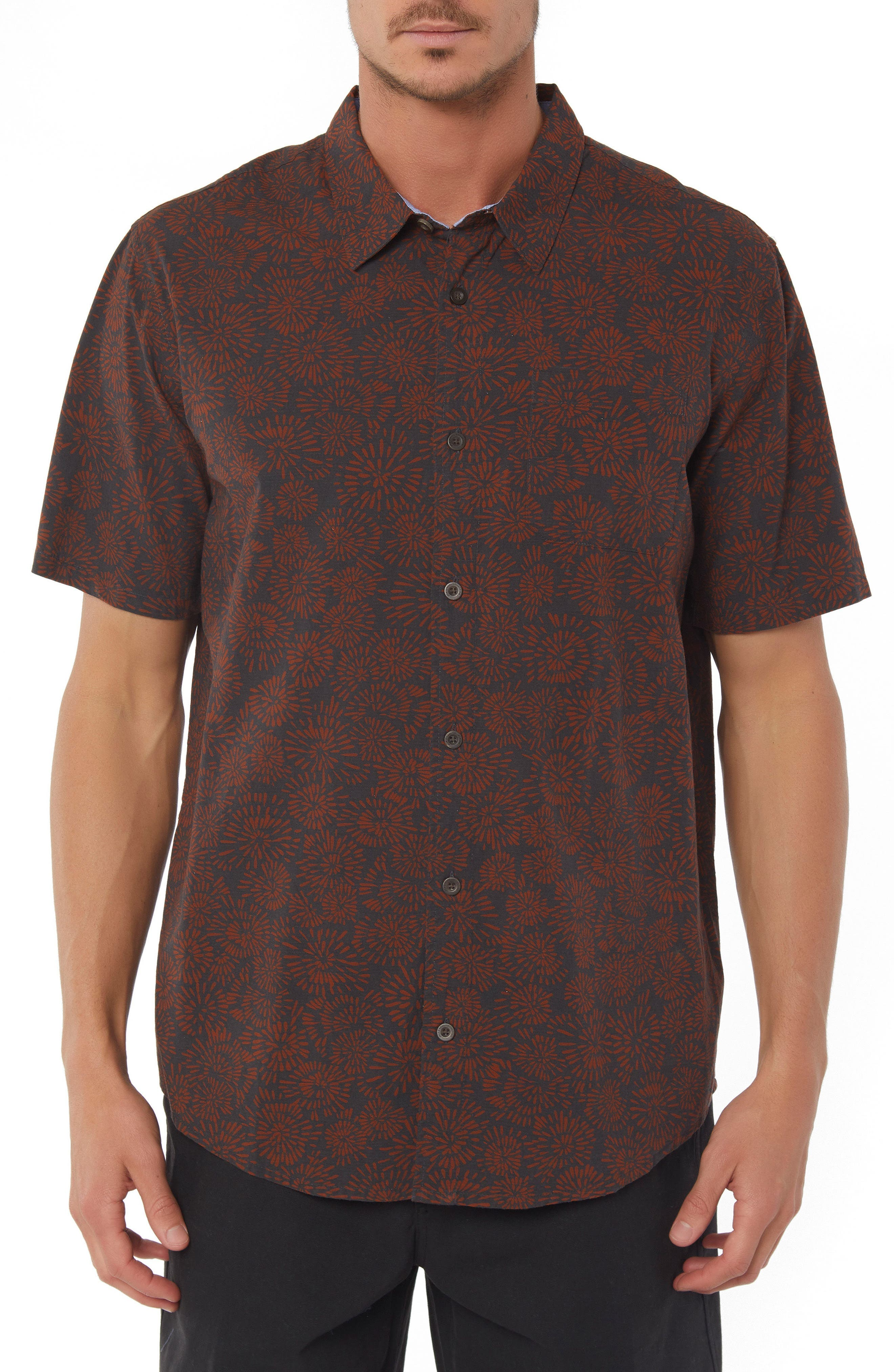 Upland Print Sport Shirt,                         Main,                         color, Asphalt