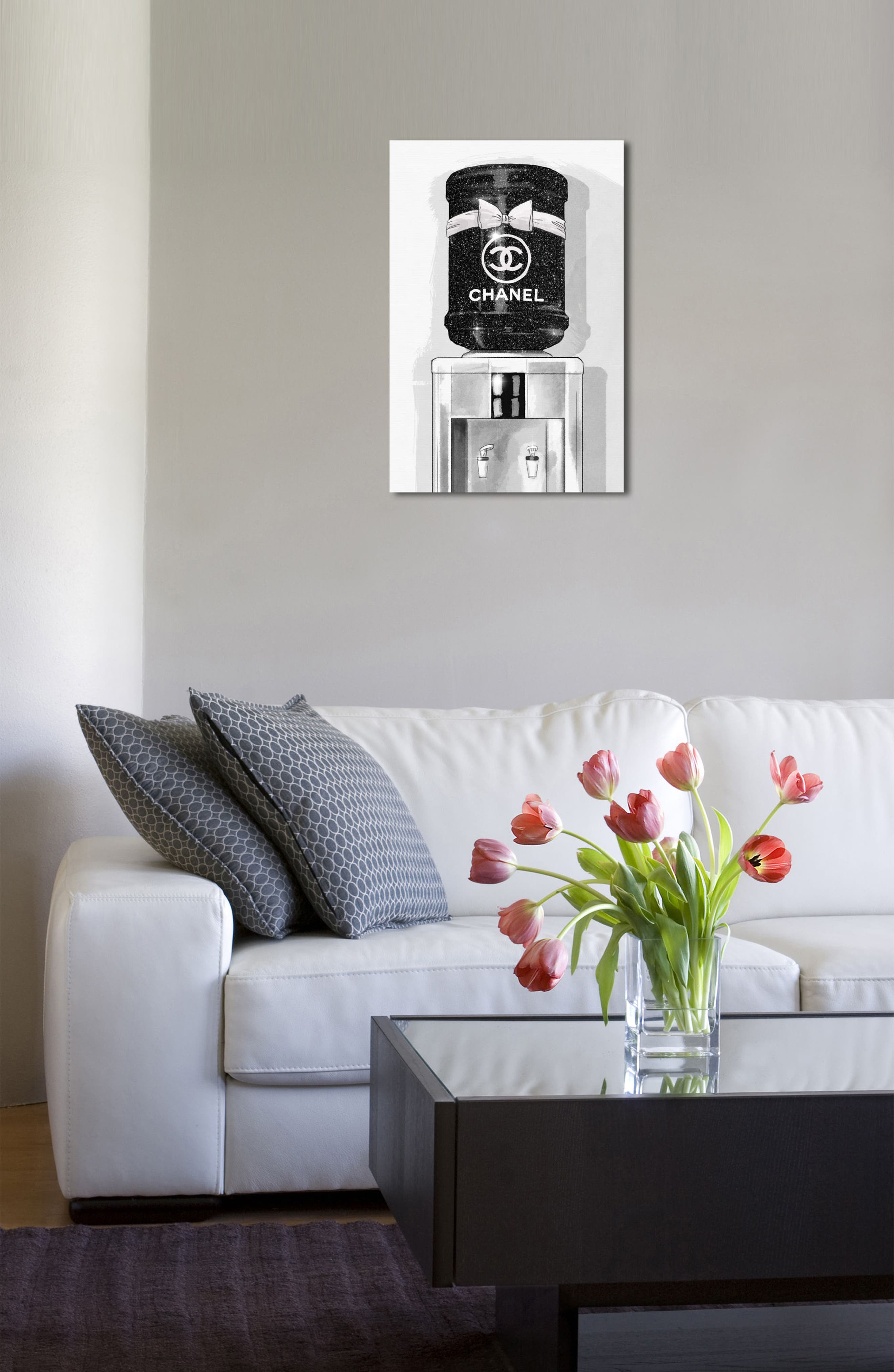 French Luxe Watercooler Canvas Wall Art,                             Alternate thumbnail 4, color,                             Black