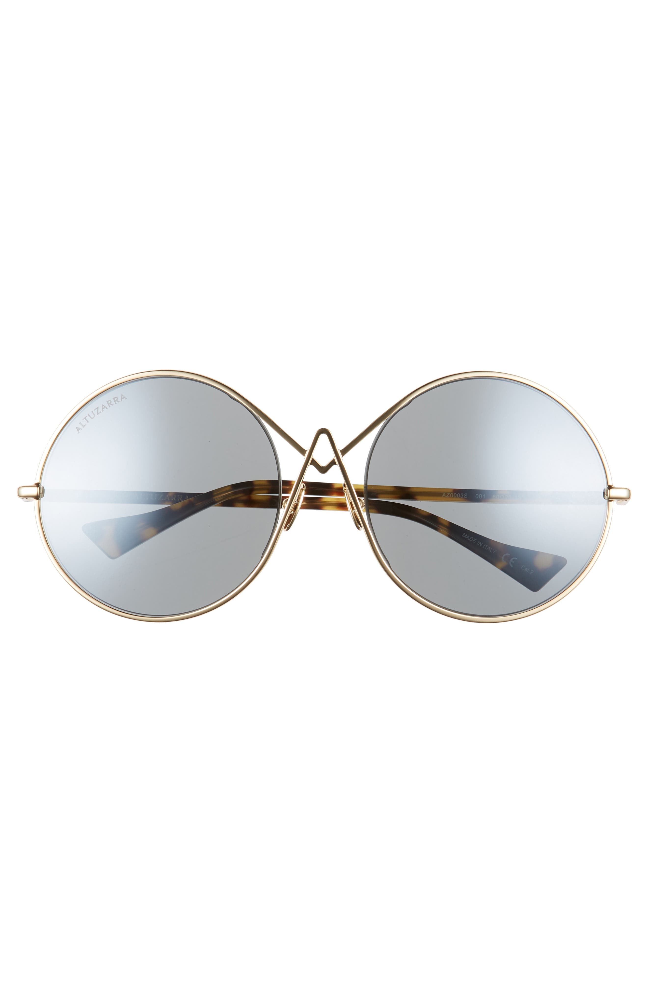 60mm Round Sunglasses,                             Alternate thumbnail 3, color,                             Gold
