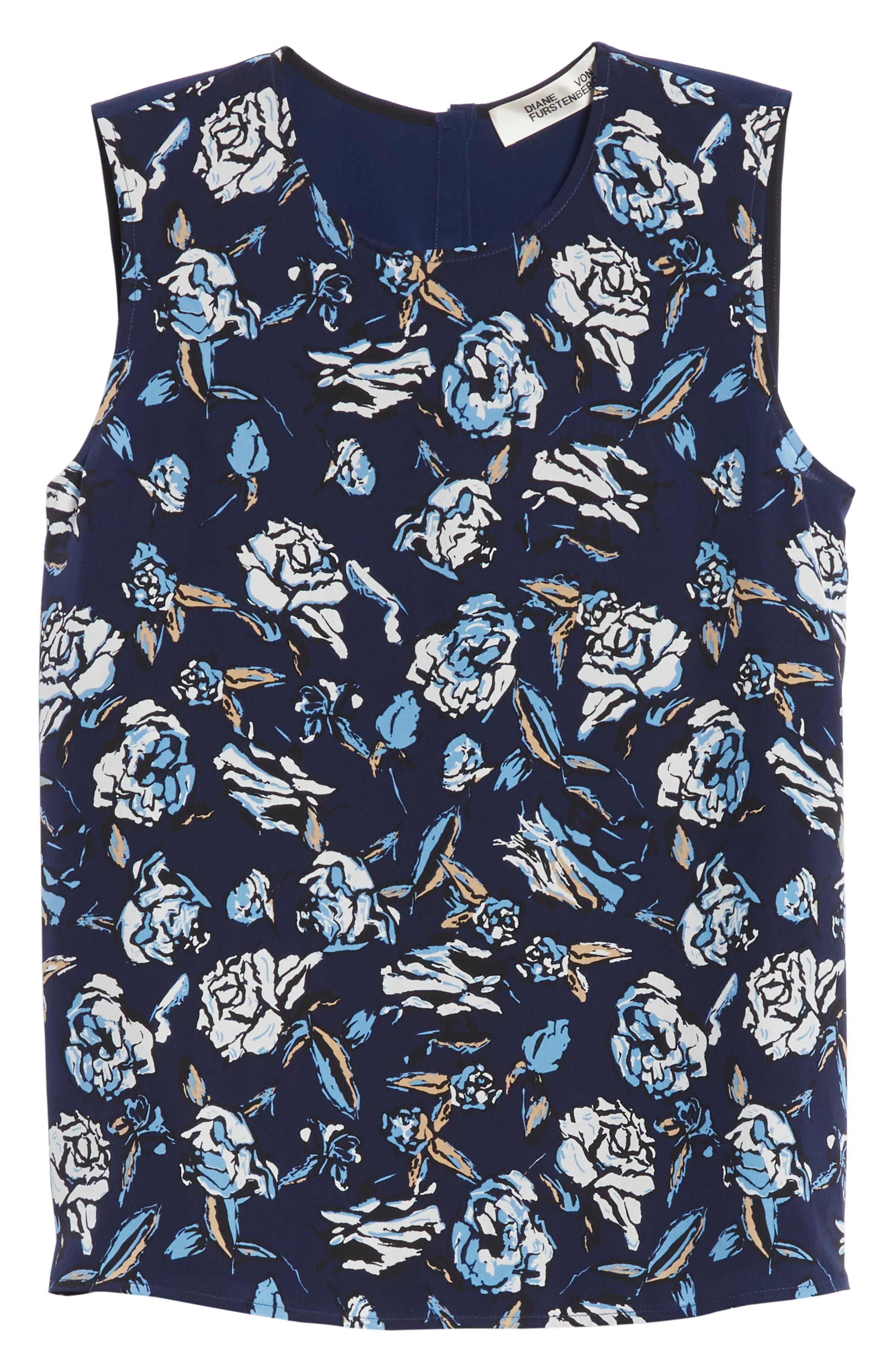 Diane von Furstenberg Floral Print Silk Shell,                             Alternate thumbnail 6, color,                             Ambrose Navy