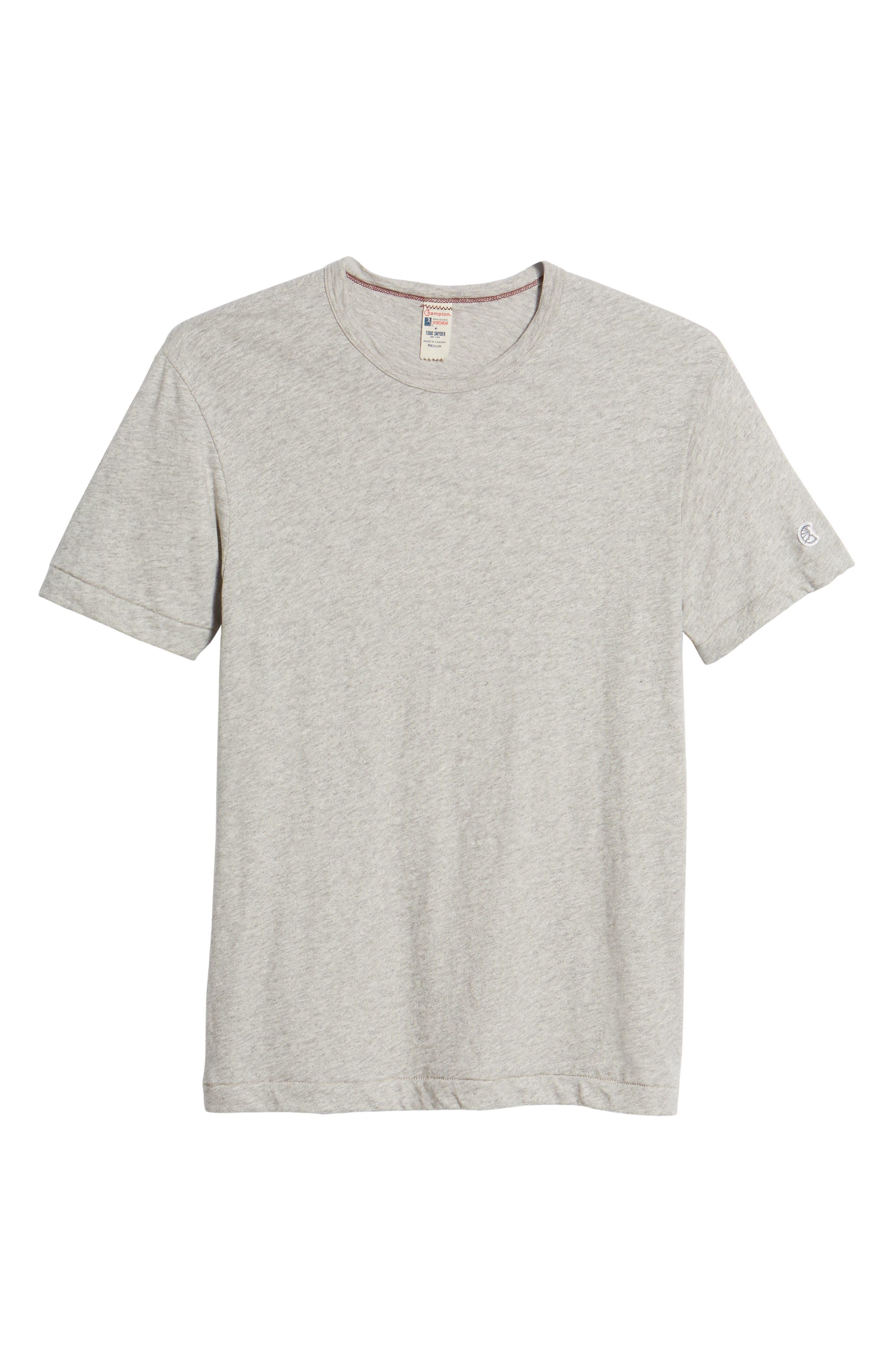 + Champion Heathered Crewneck T-Shirt,                             Alternate thumbnail 6, color,                             Antique Grey Mix