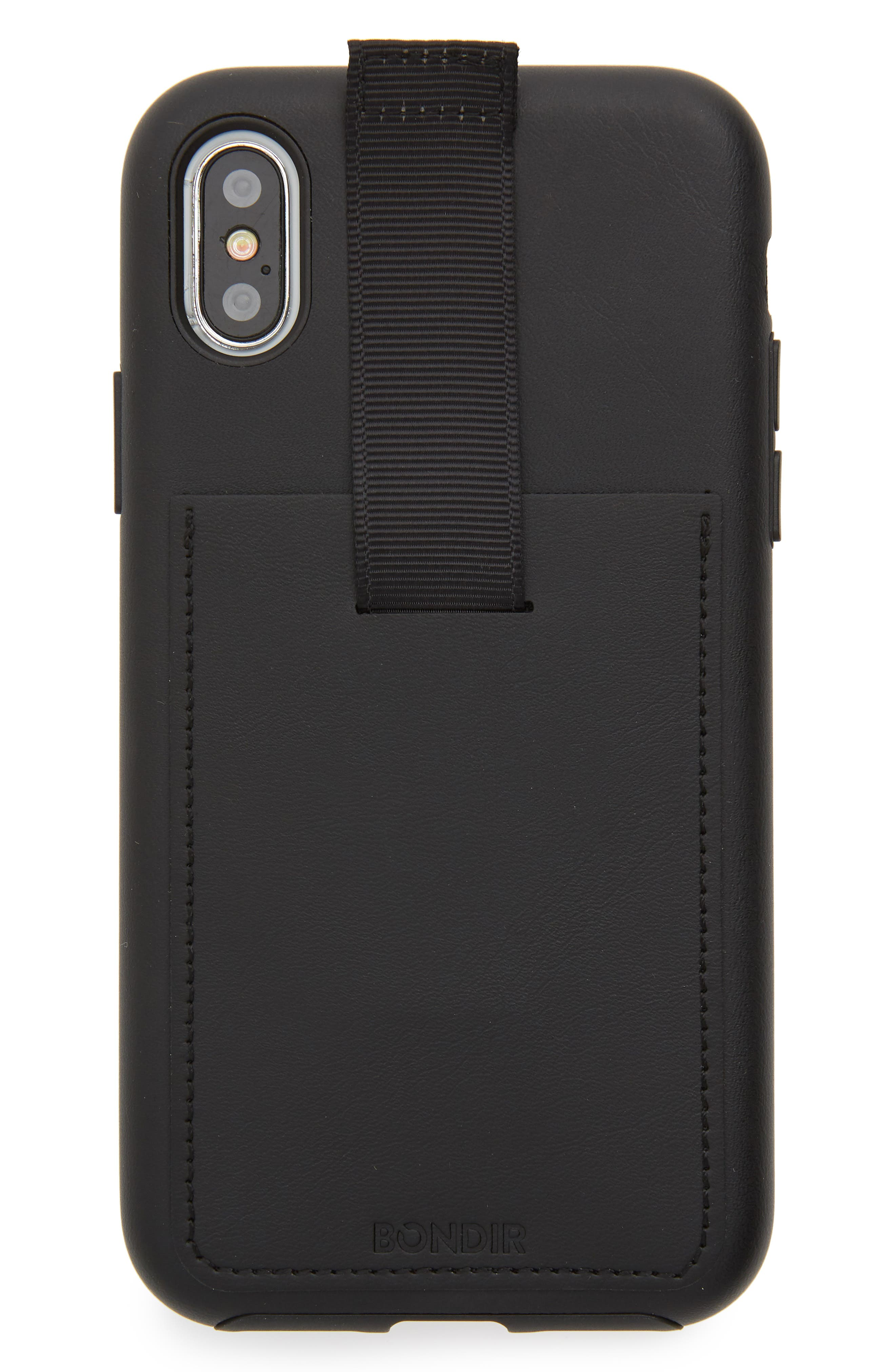 Leather iPhone X Wallet Case,                             Main thumbnail 1, color,                             Black