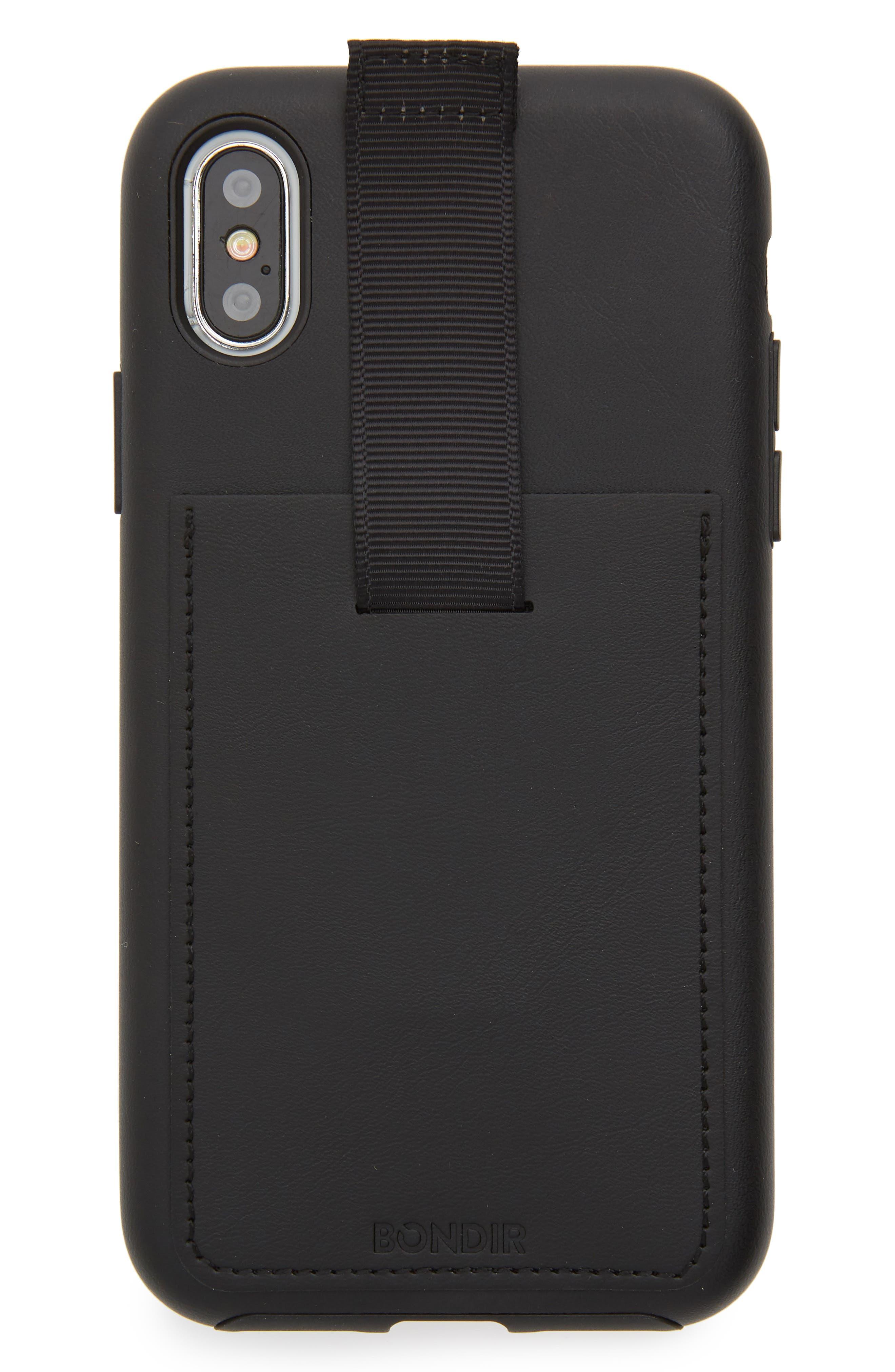 Leather iPhone X Wallet Case,                         Main,                         color, Black