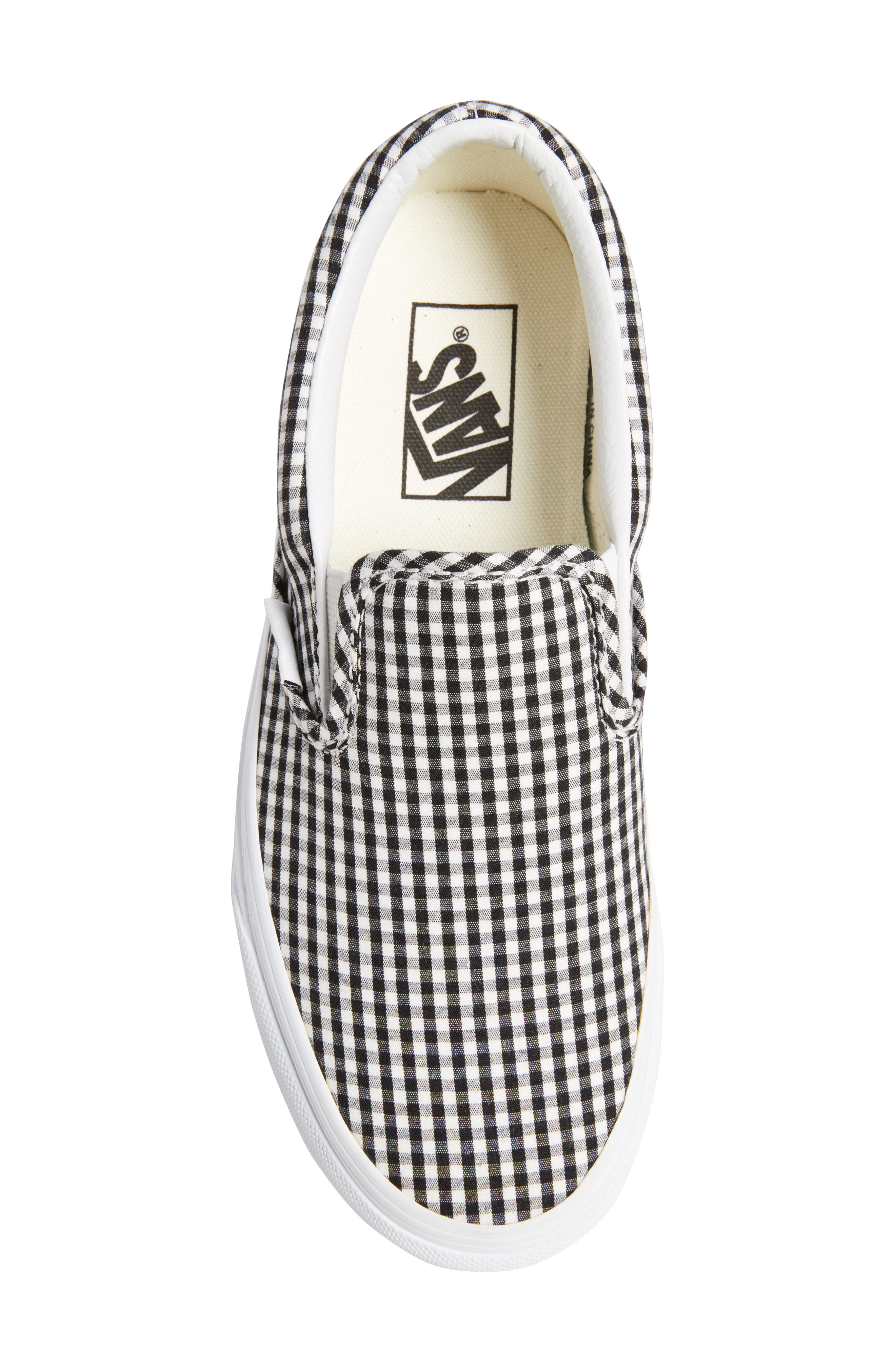 Classic Slip-On Sneaker,                             Alternate thumbnail 5, color,                             Black/ True White Gingham