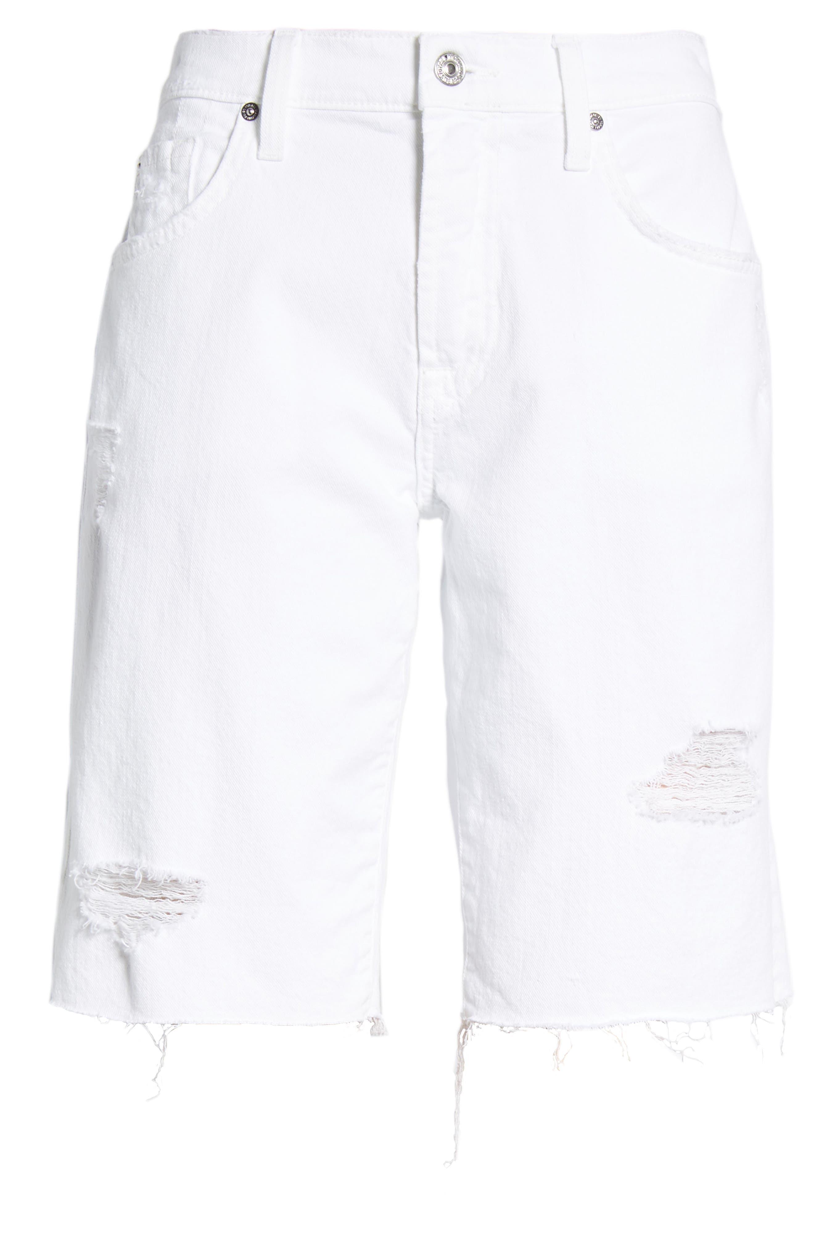 Alternate Image 6  - 7 For All Mankind® Distressed High Waist Straight Leg Bermuda Shorts (White Fashion 4)