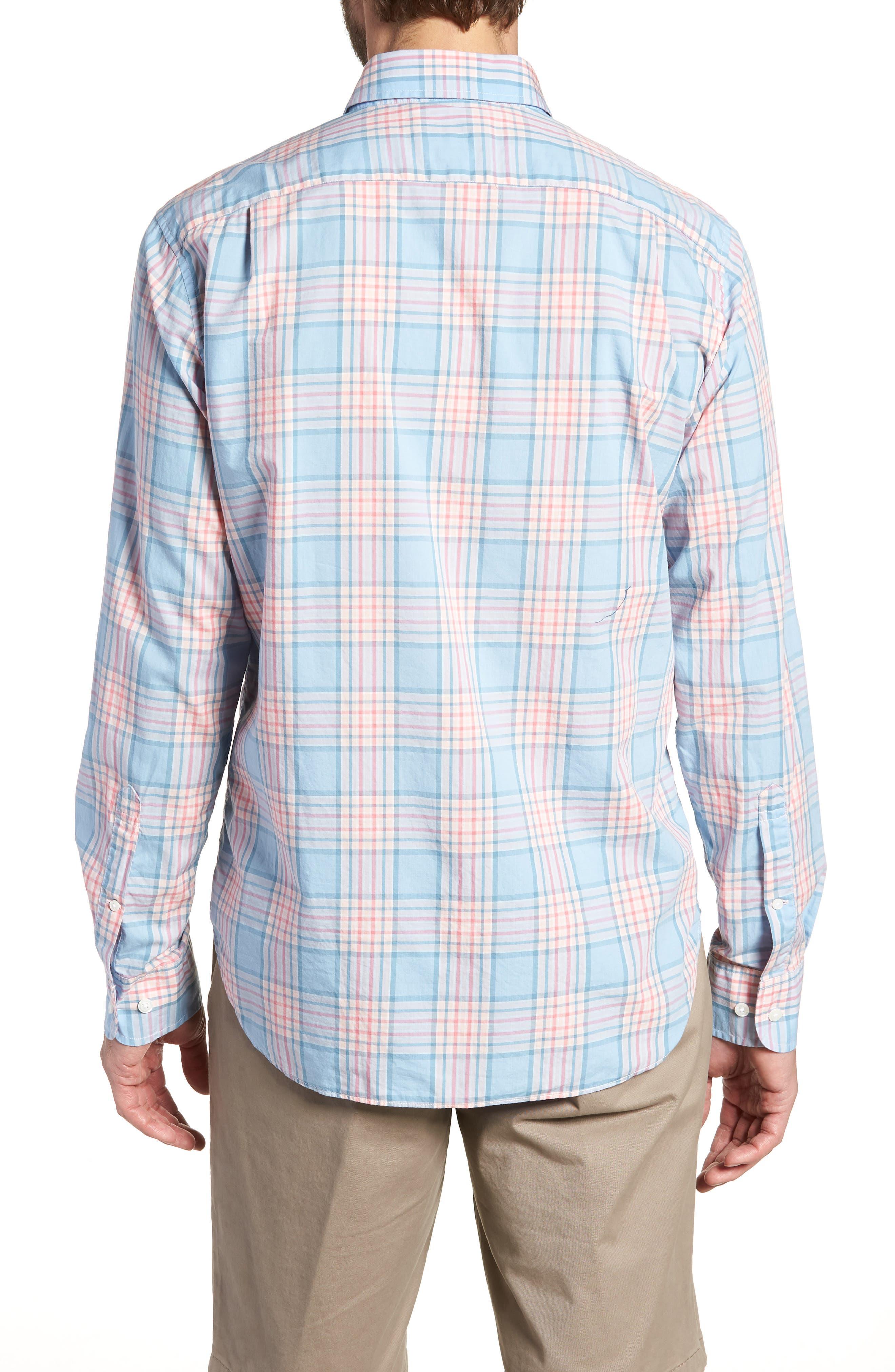 Slim Fit Plaid Sport Shirt,                             Alternate thumbnail 3, color,                             Sandoval Plaid - Peach Melba