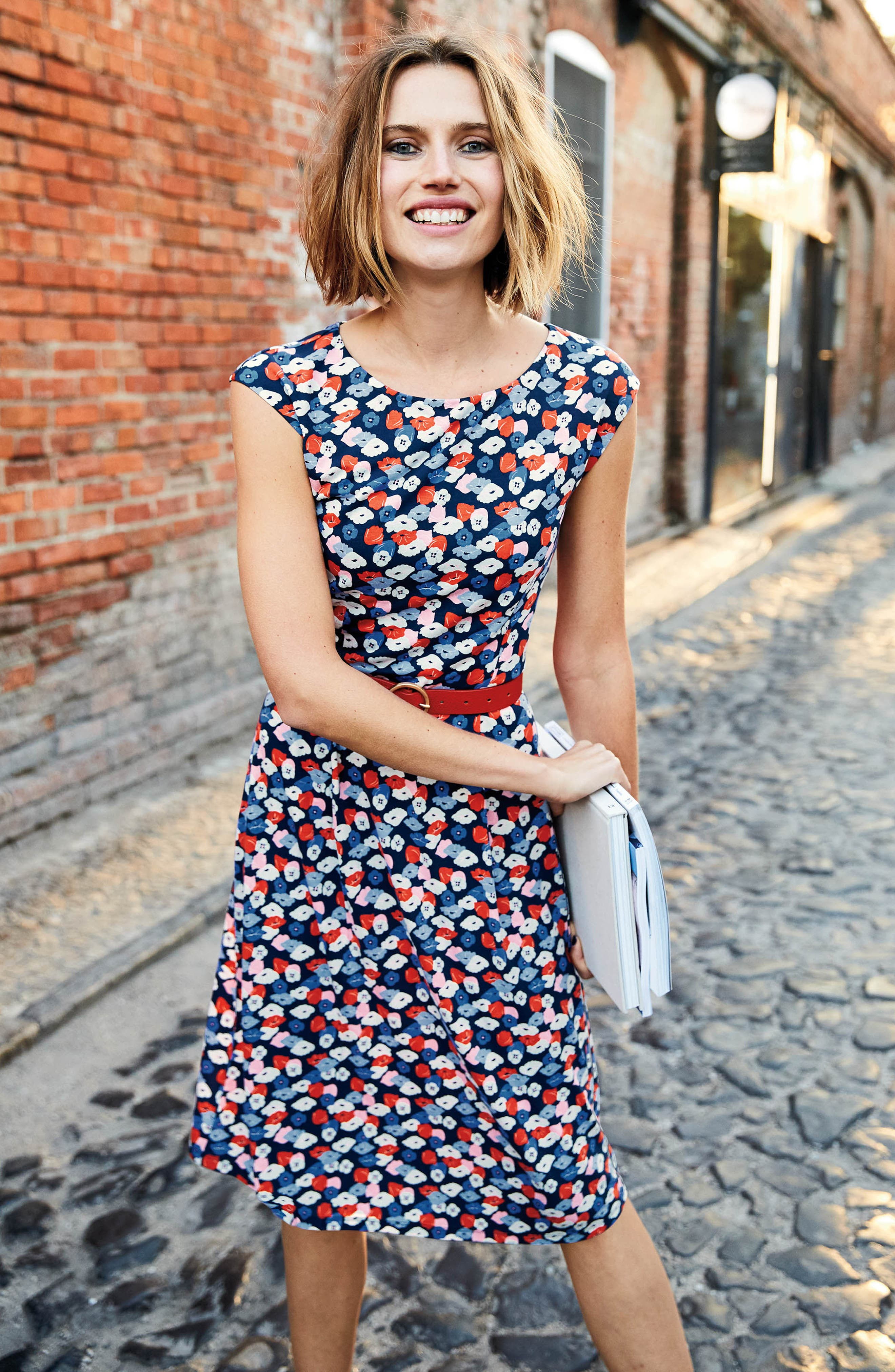 Marina Belted Floral Jersey Dress,                             Alternate thumbnail 5, color,                             Navy Poppy Meadow