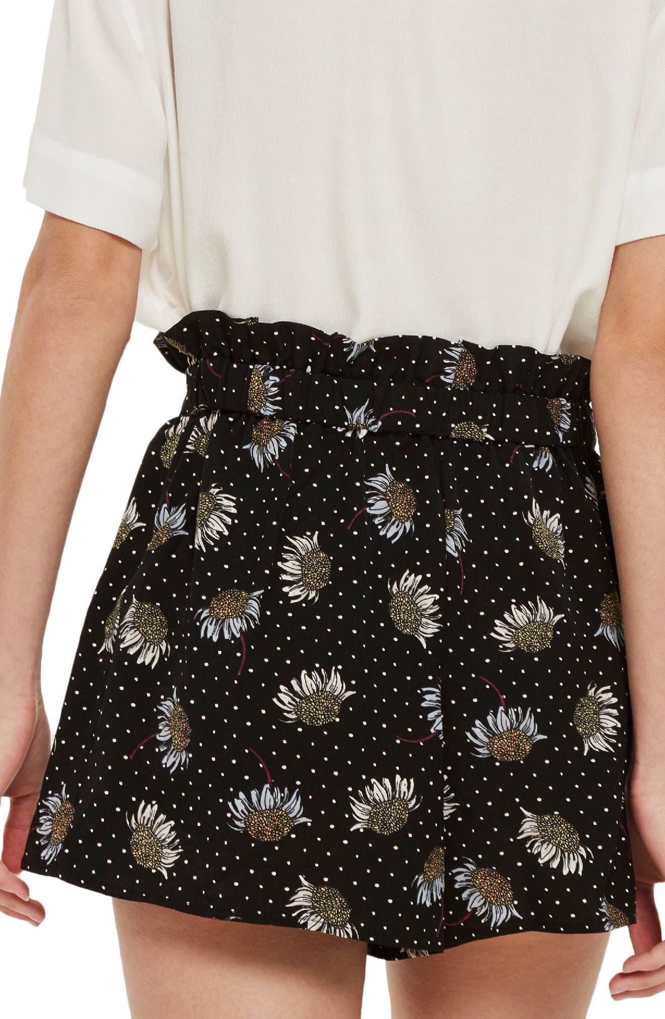 Daisy Print Frill Waist Shorts,                             Alternate thumbnail 3, color,                             Black Multi