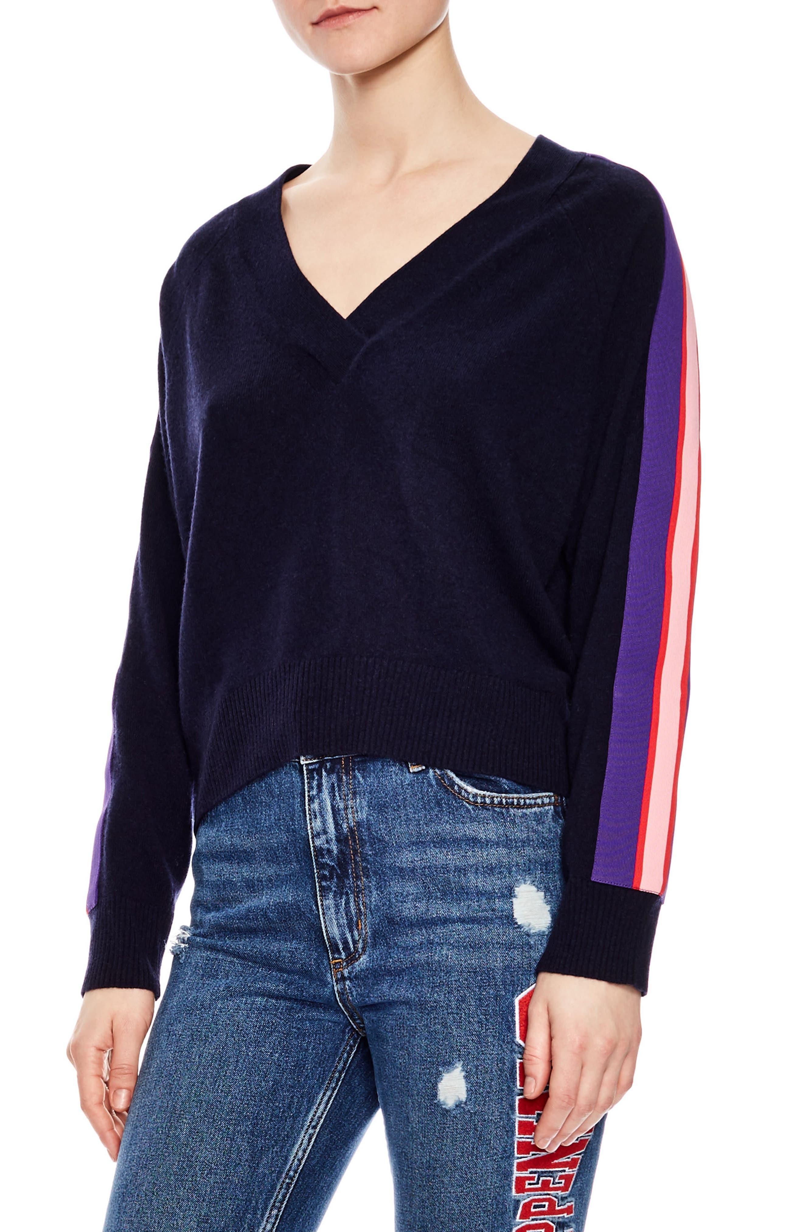 sandro Side Stripe Wool & Cashmere Sweater