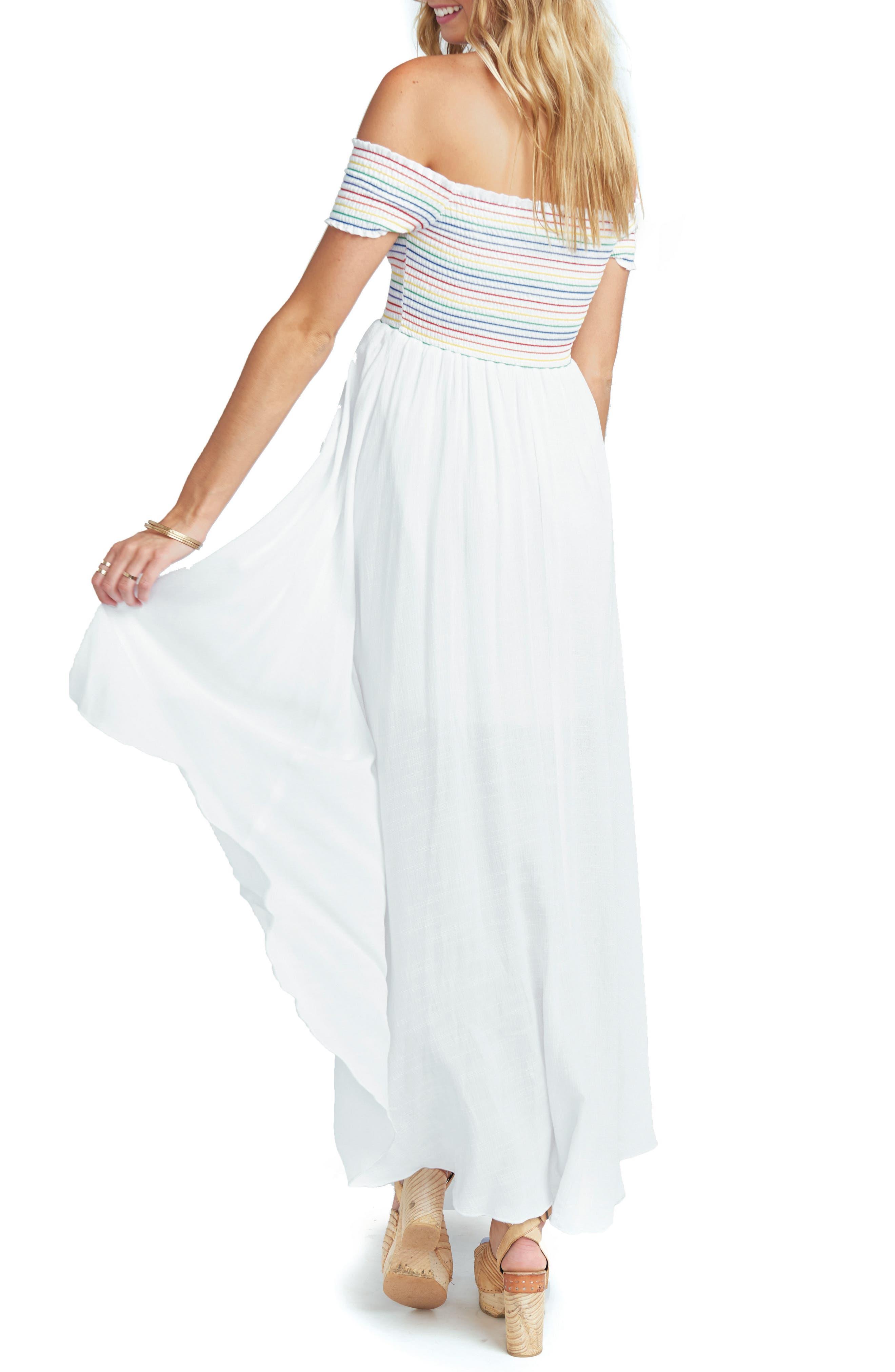 Willa Maxi Dress,                             Alternate thumbnail 2, color,                             White Cruise With Rainbow