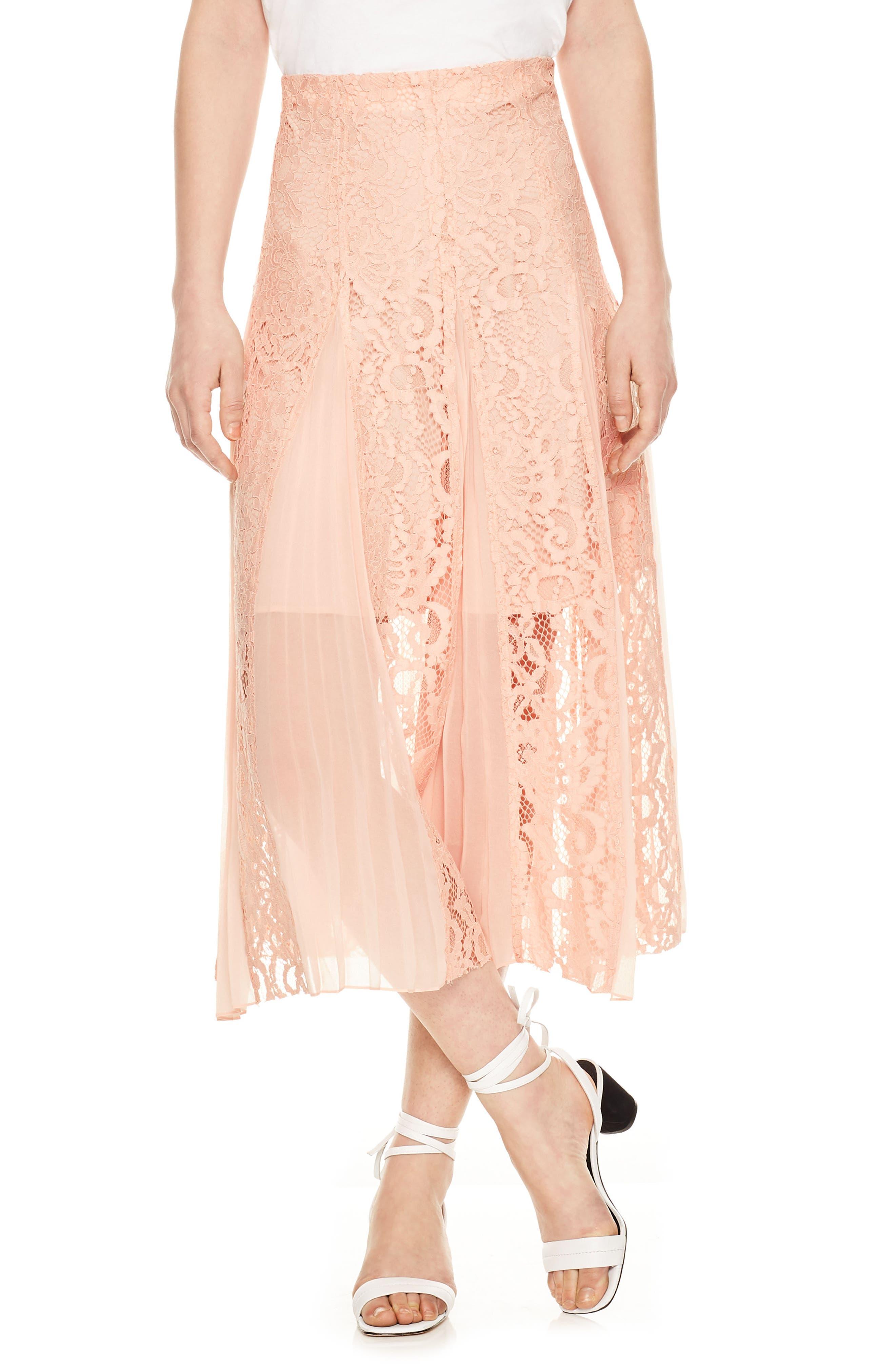 Lace Midi Skirt,                         Main,                         color, Blush