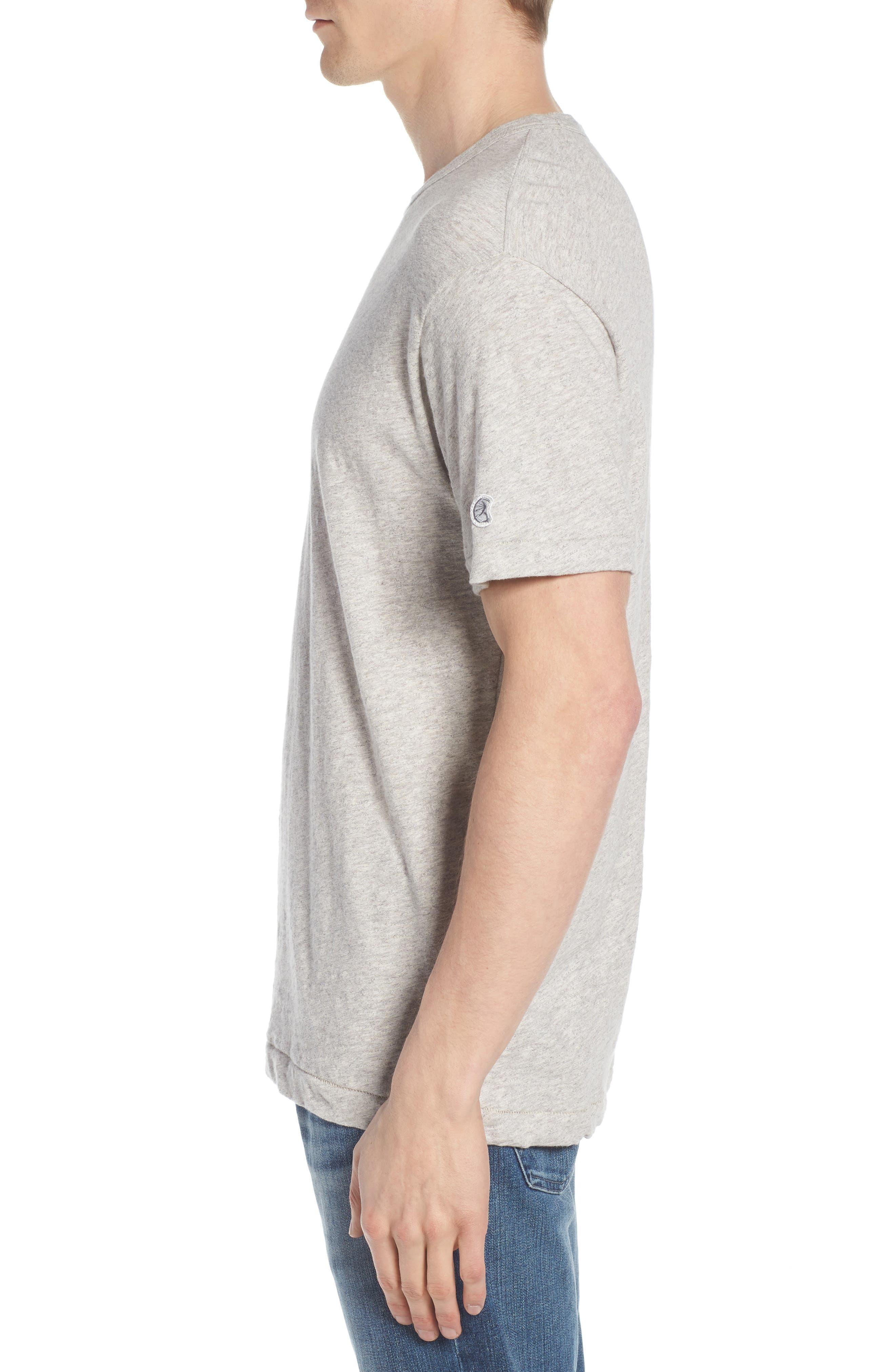 + Champion Heathered Crewneck T-Shirt,                             Alternate thumbnail 3, color,                             Antique Grey Mix