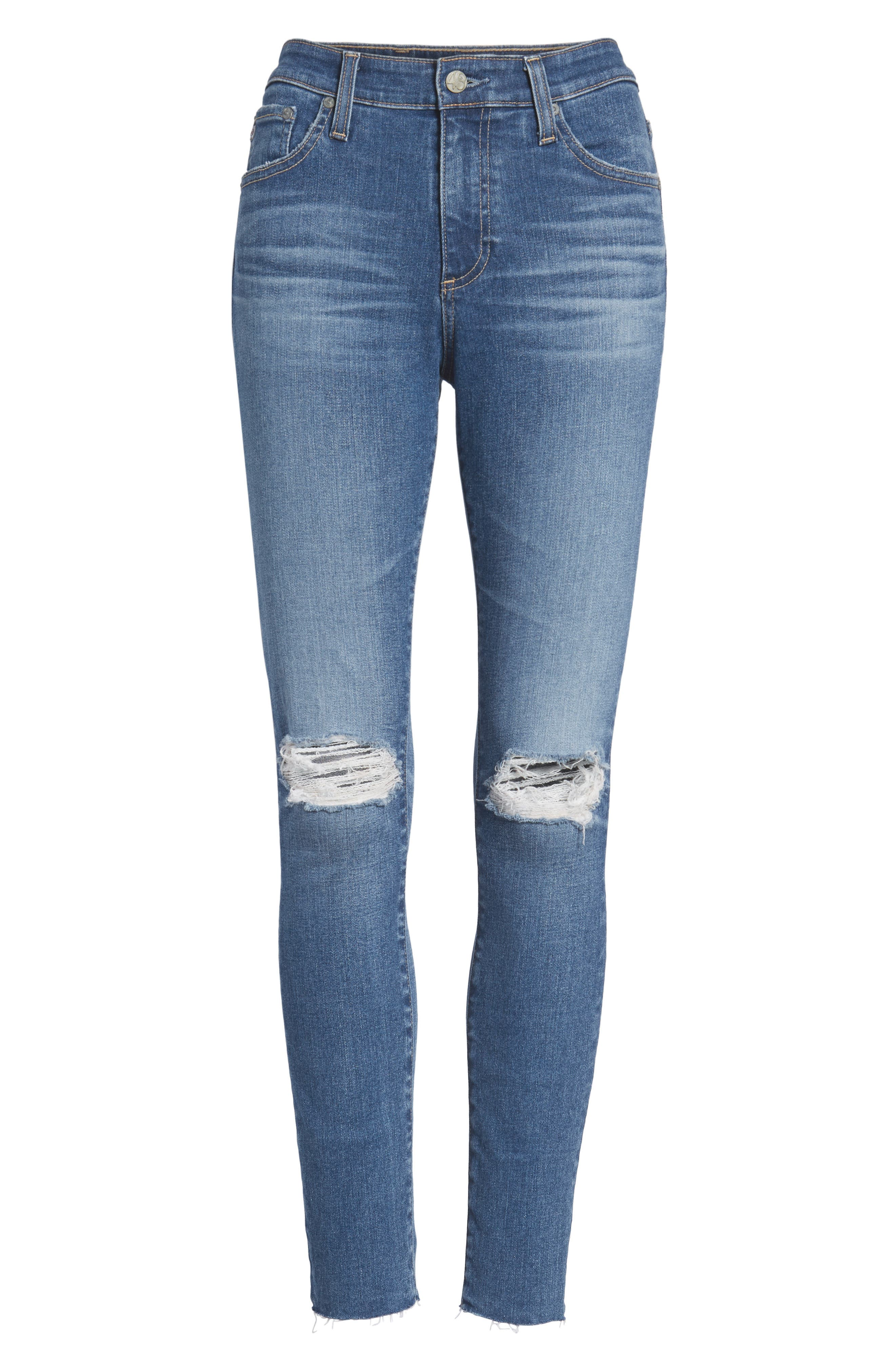 The Farrah High Waist Ankle Skinny Jeans,                             Alternate thumbnail 7, color,                             13 Year Saltwater
