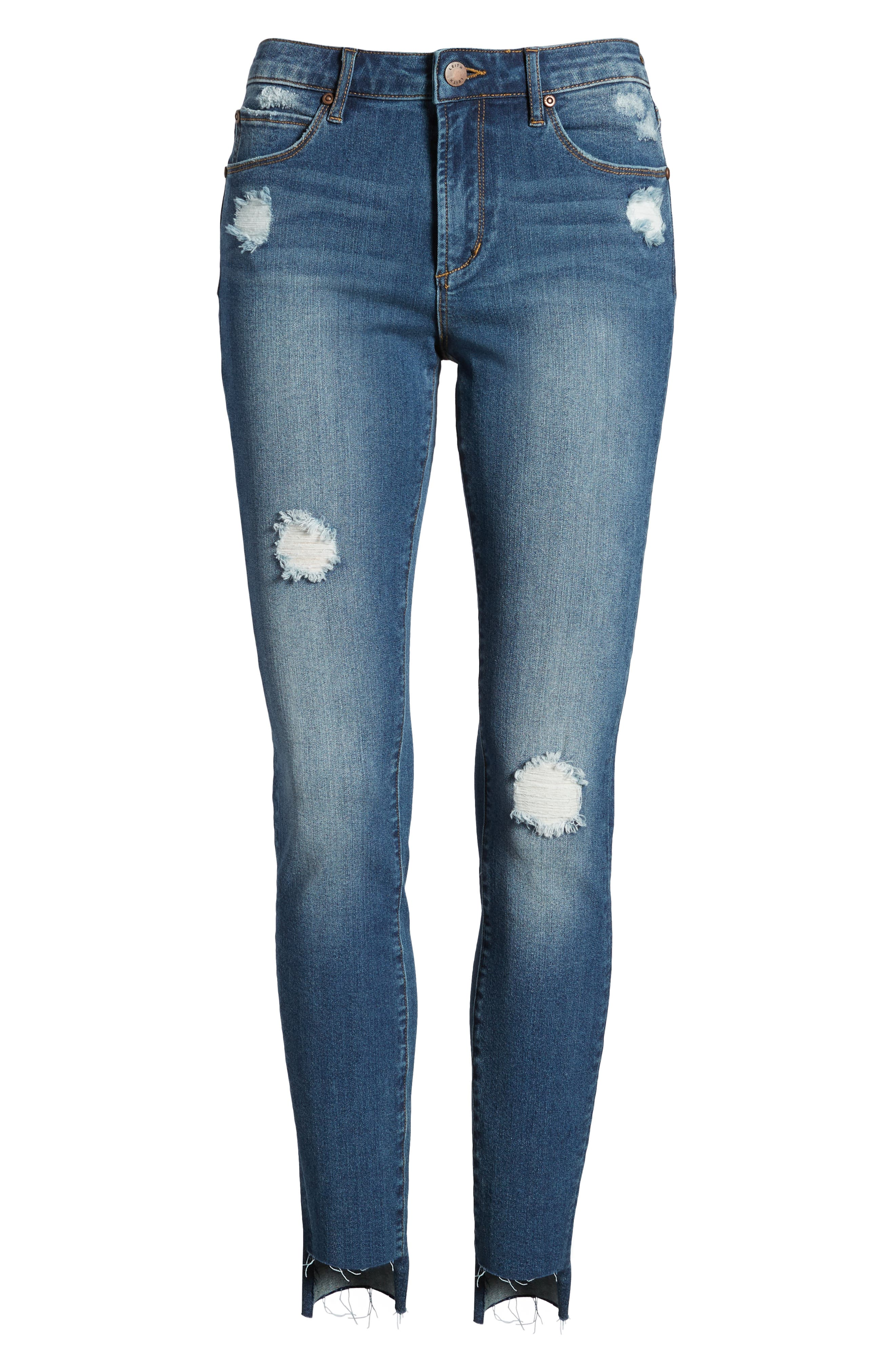 Ripped Step Hem Skinny Jeans,                             Alternate thumbnail 7, color,                             Medium Wash