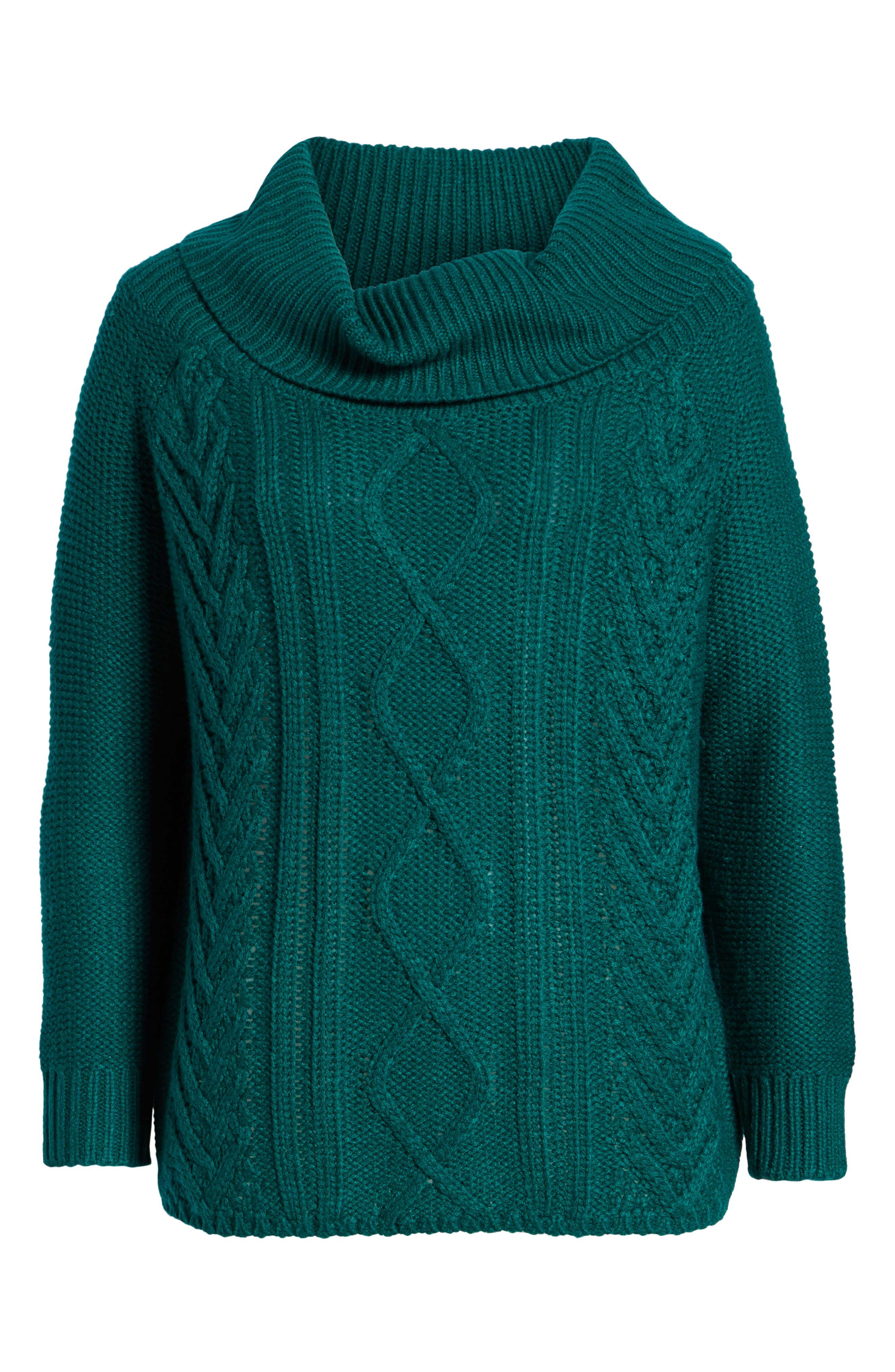 Off Shore Cable Knit Sweater,                             Alternate thumbnail 7, color,                             Deep Lagoon