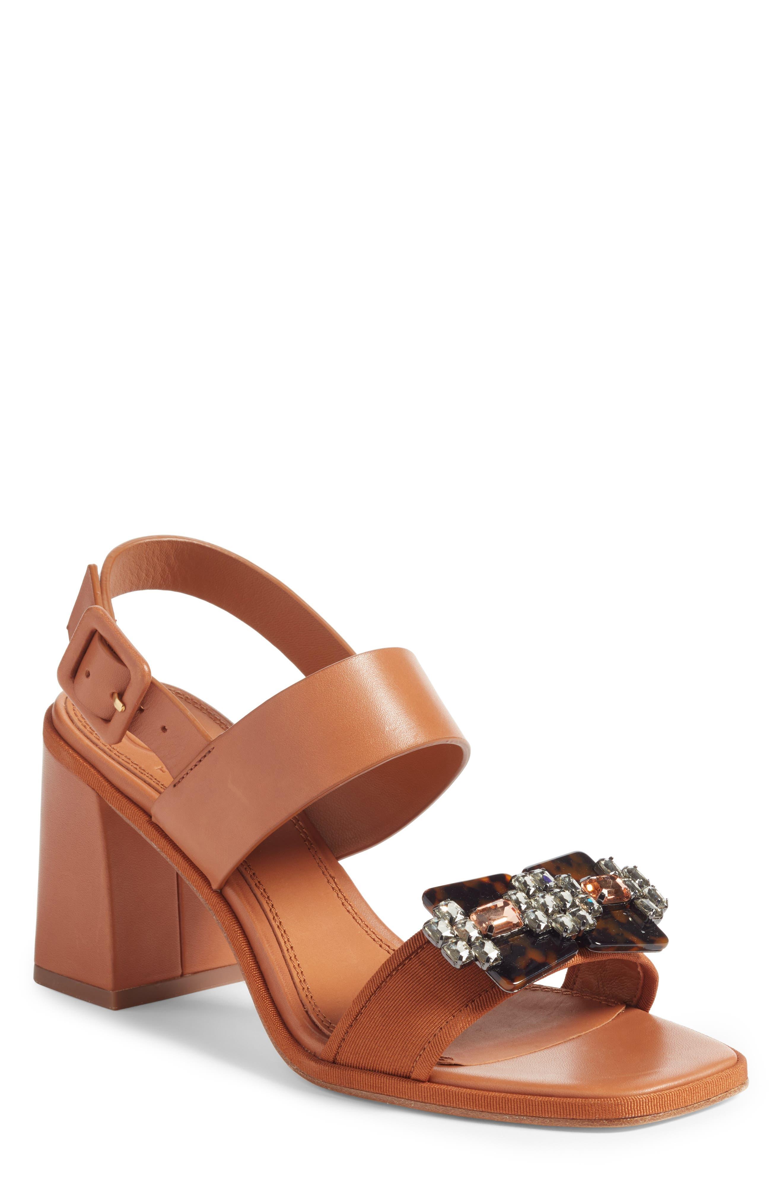 Delaney Embellished Double Strap Sandal,                             Main thumbnail 1, color,                             Tan/ Tan