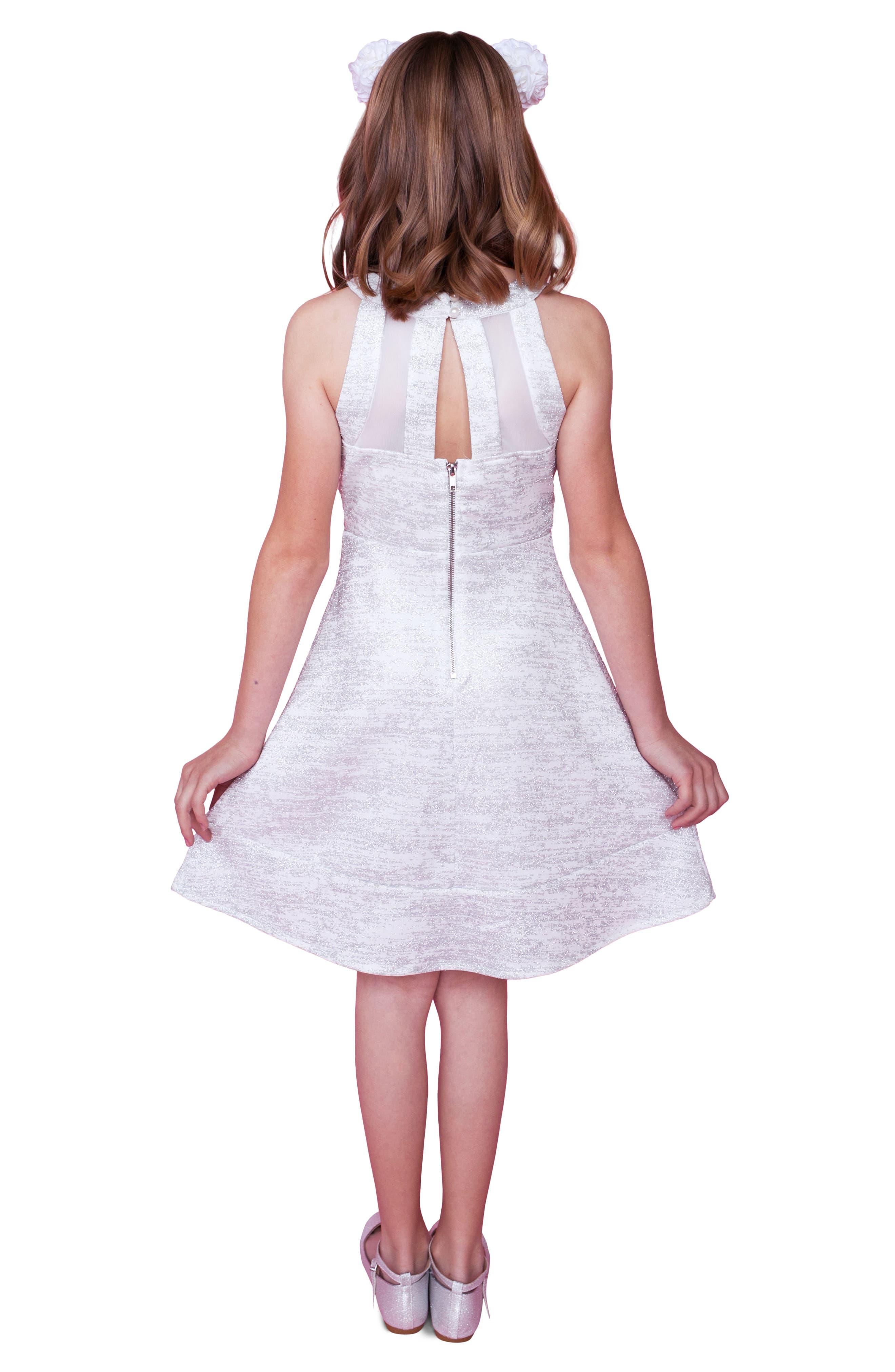 Glitter Scuba Skater Dress,                             Alternate thumbnail 4, color,                             Ivory/ Silver