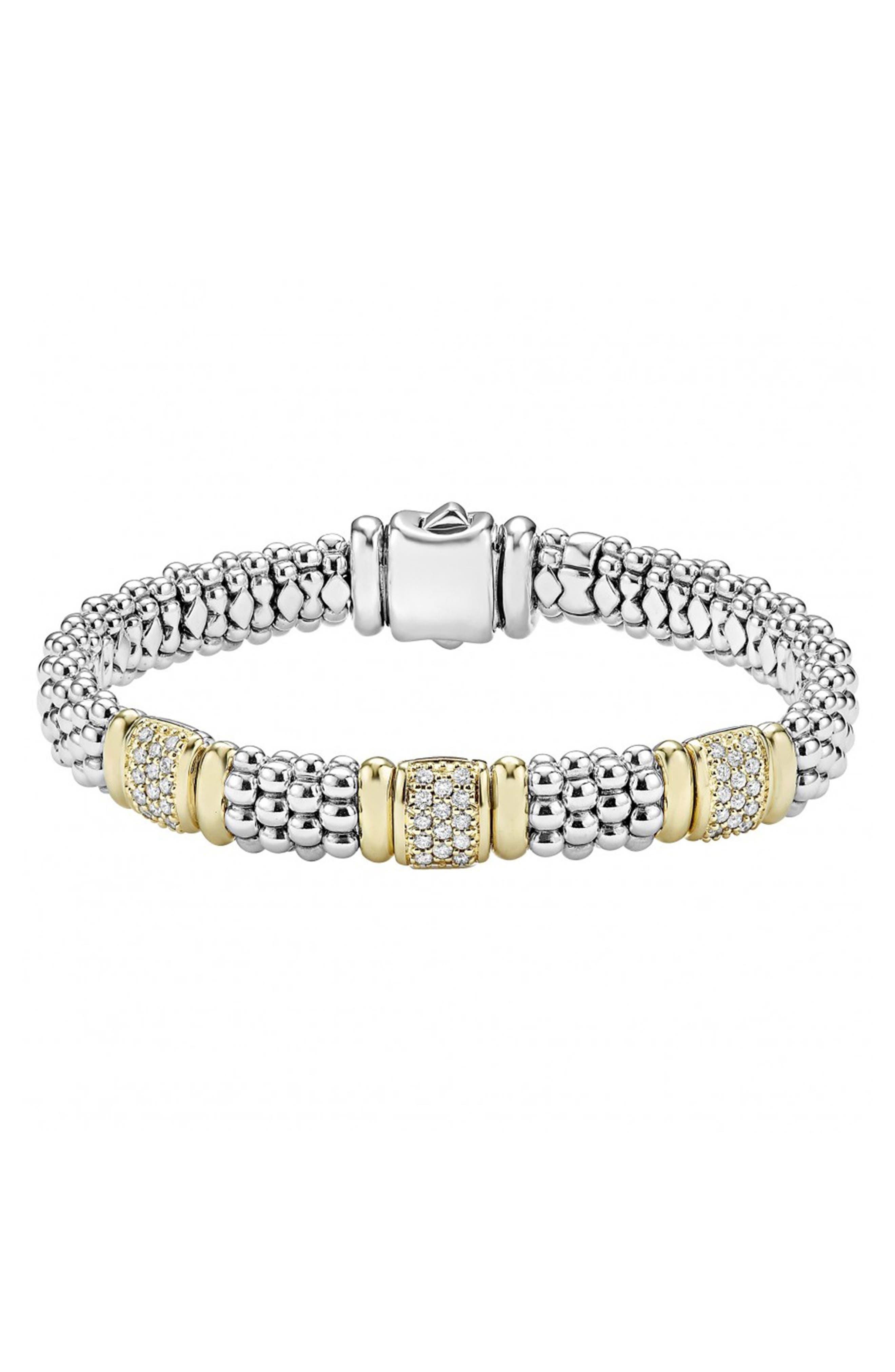 'Caviar' Diamond Station Bracelet,                             Main thumbnail 1, color,                             Silver/ Gold