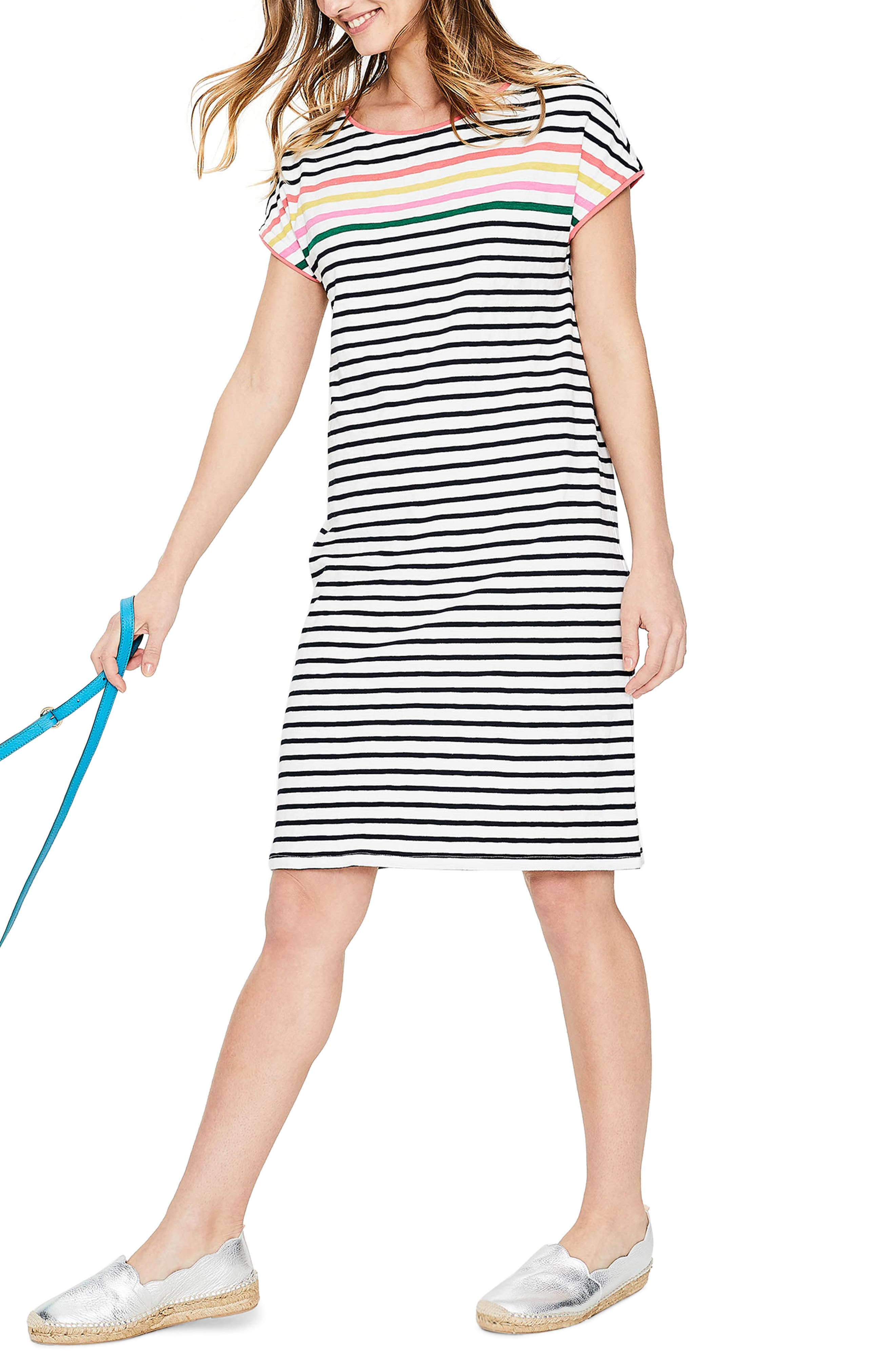 Paulina Stripe T-Shirt Dress,                             Main thumbnail 1, color,                             Rainbow Multi Stripe