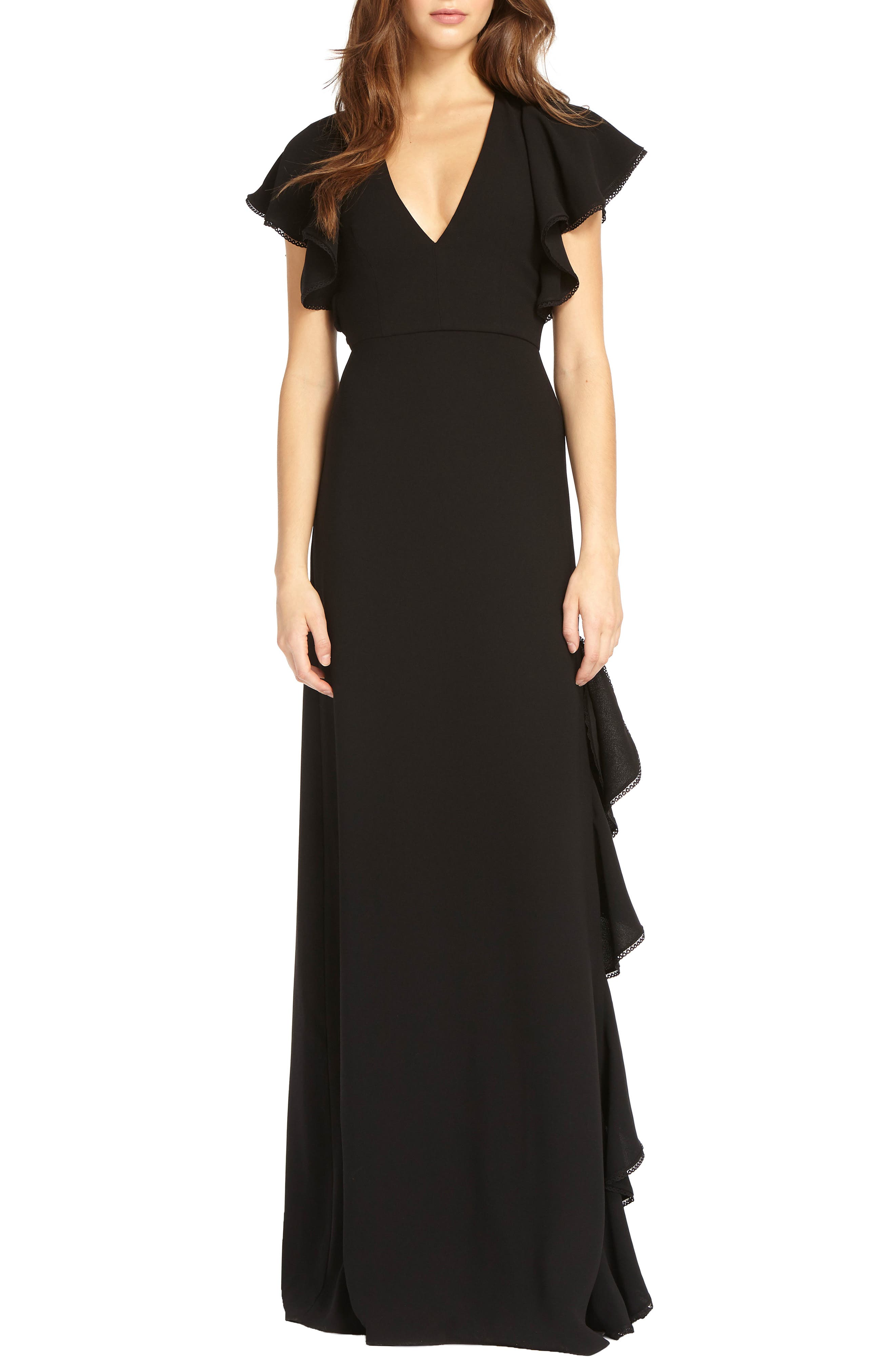 V-Neck Ruffle Gown,                             Main thumbnail 1, color,                             Black
