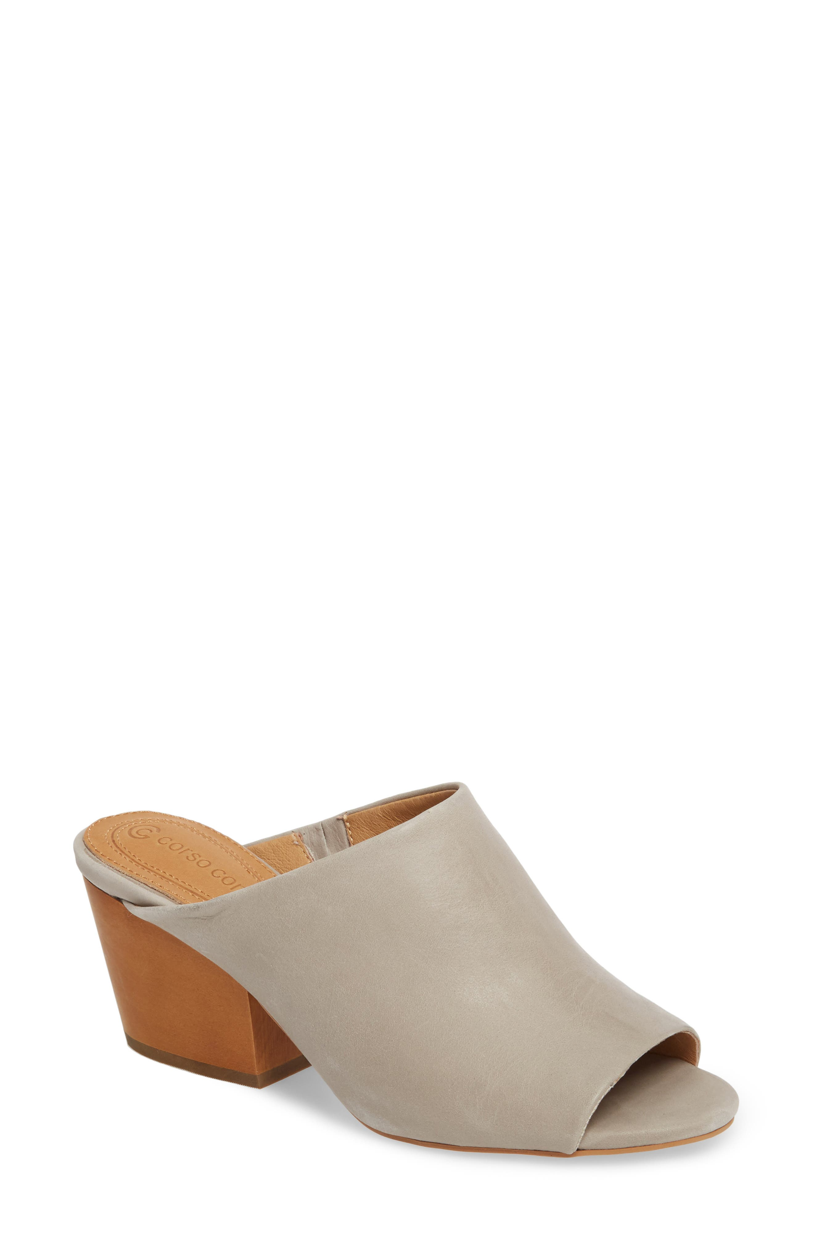 Intra Block Heel Mule,                             Main thumbnail 1, color,                             Grey Leather